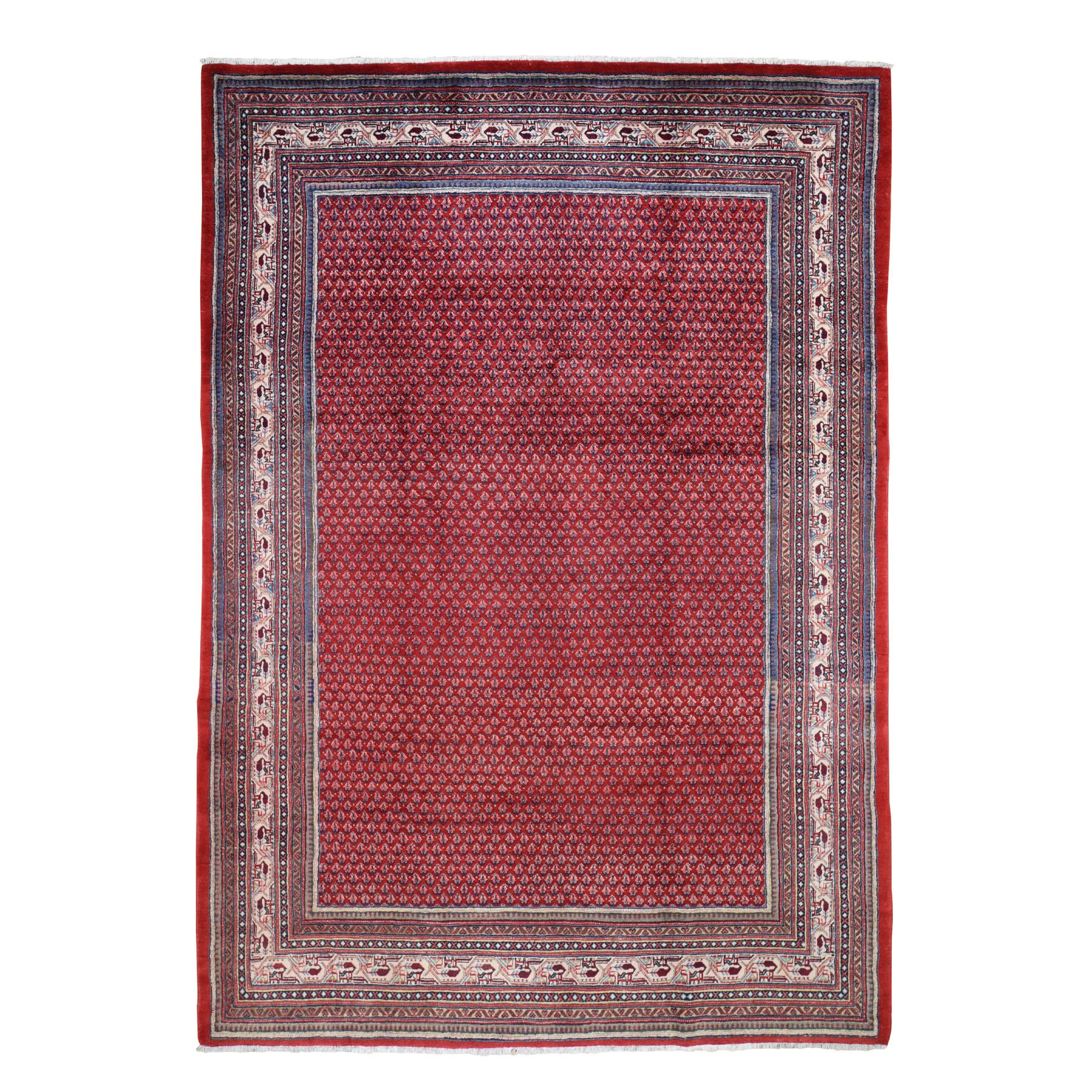 "7'1""X10'8"" Red New Persian Sarouk Mir With Repetitive Design Pure Wool Oriental Rug moad7d8b"