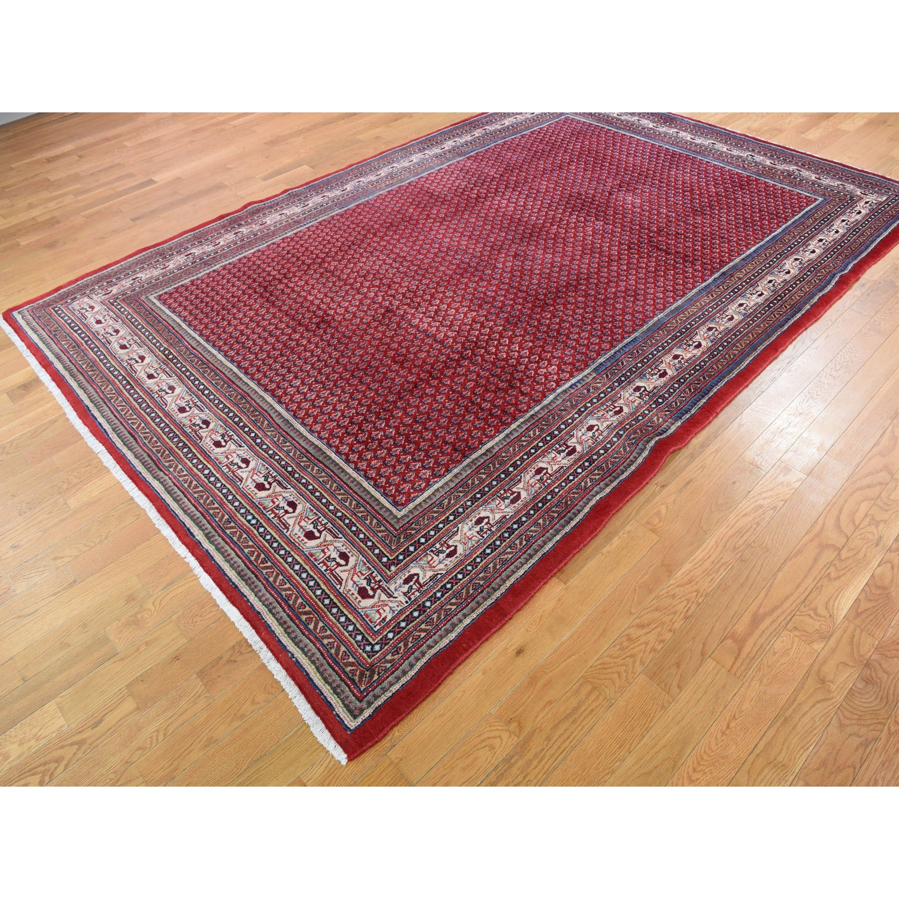 7-1 x10-8  Red New Persian Sarouk Mir With Repetitive Design Pure Wool Oriental Rug