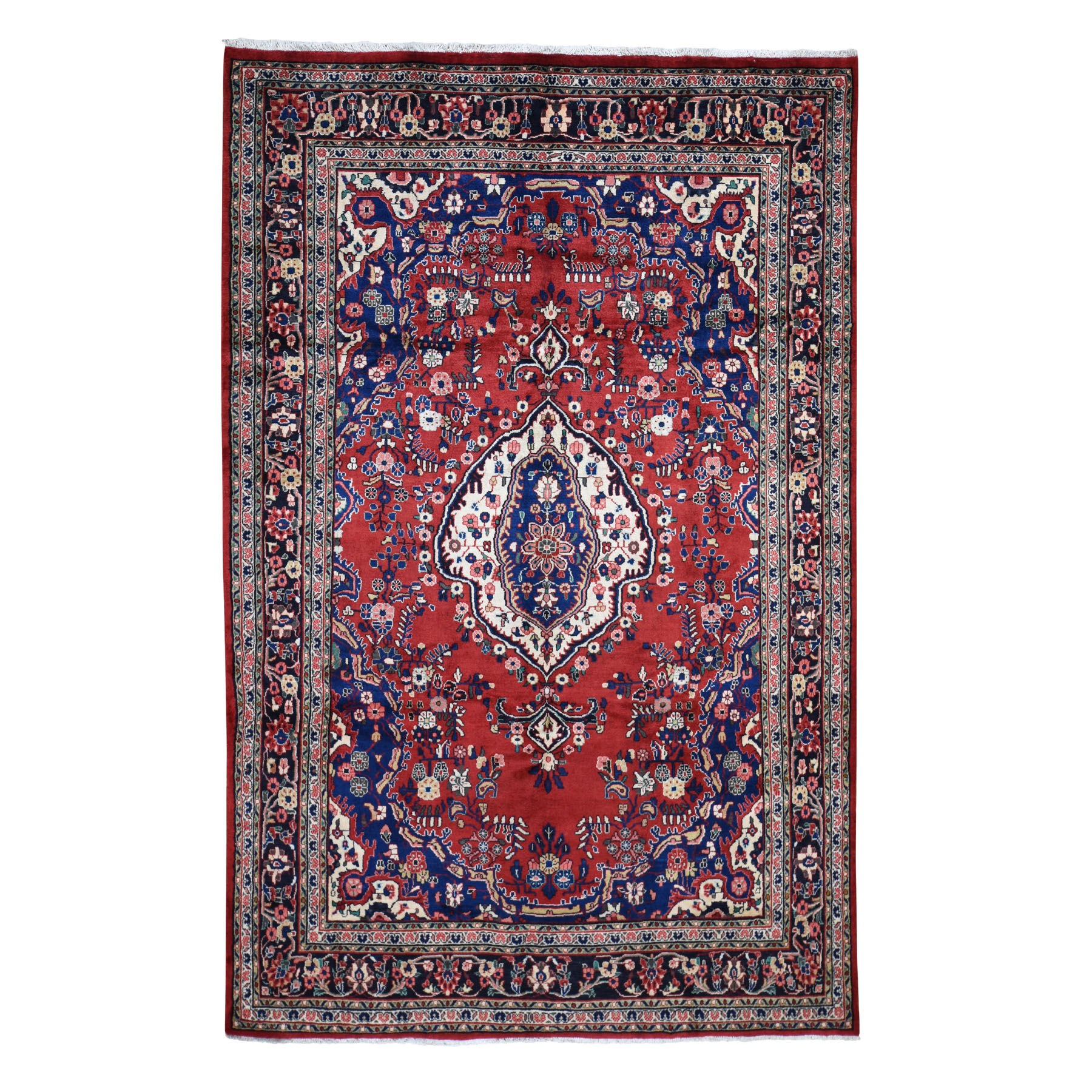 "6'8""X10'4"" Red New Persian Bibikabad Exc Condition Pure Wool Hand Knotted Oriental Rug moad7d8e"