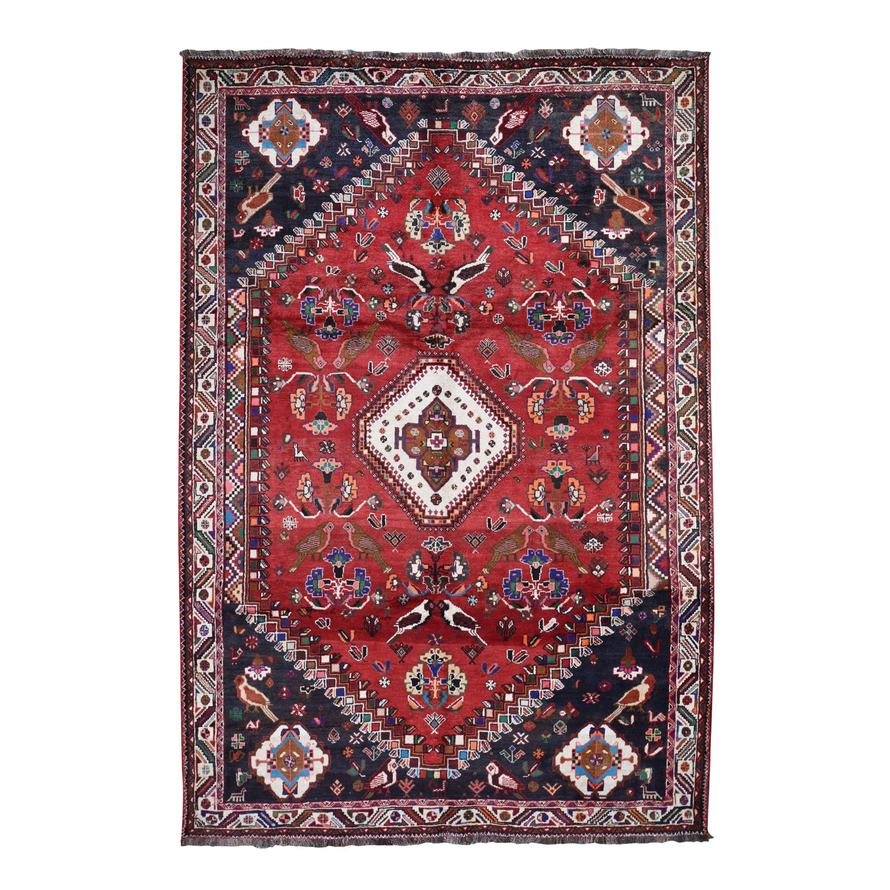"6'9""X10'2"" Red New Persian Shiraz With Birds Pure Wool Hand Knotted Oriental Rug moad7d9a"