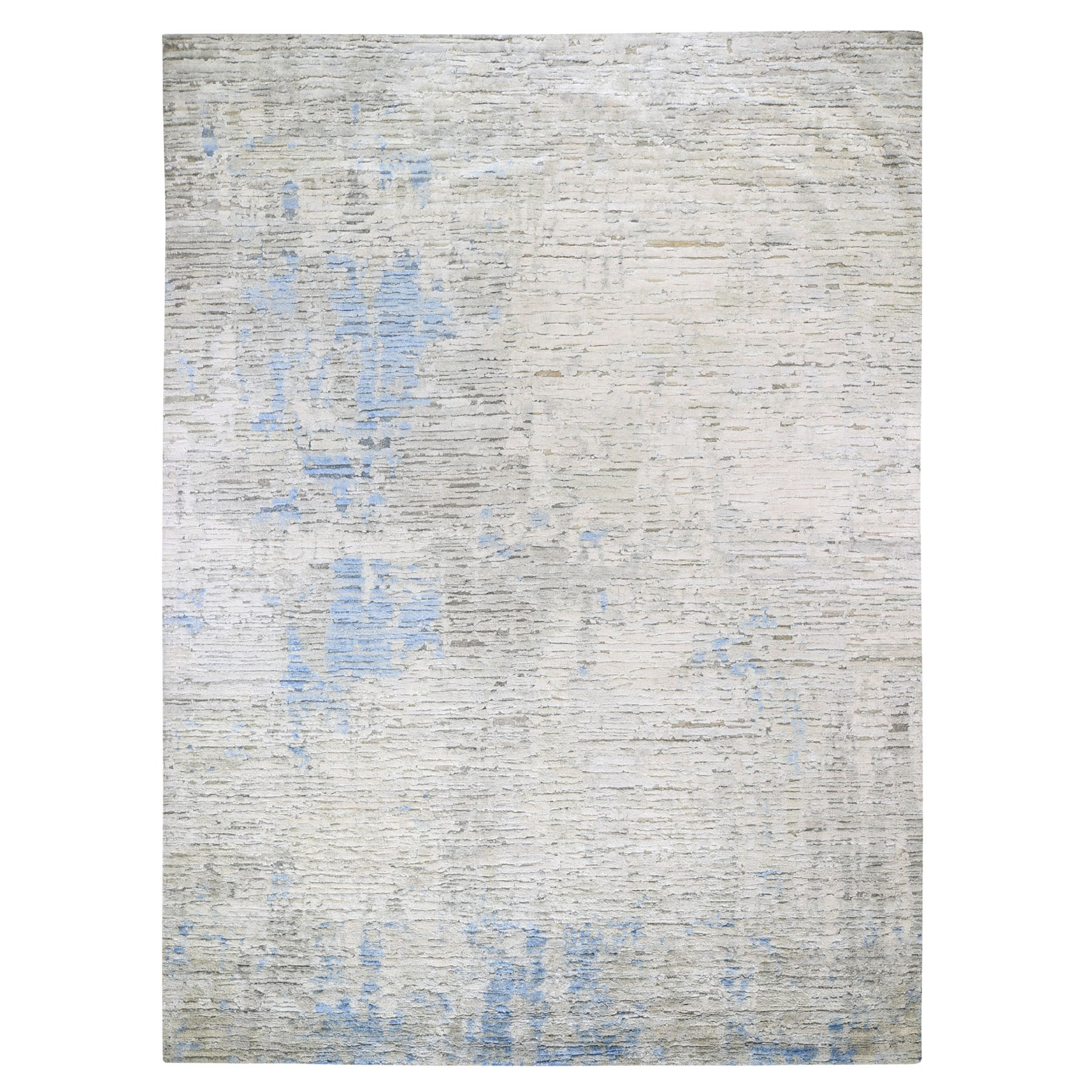 "9'2""X11'10"" Ivory Pure Silk Fluffy Collection Hand Knotted Modern  Oriental Rug moad7d9c"
