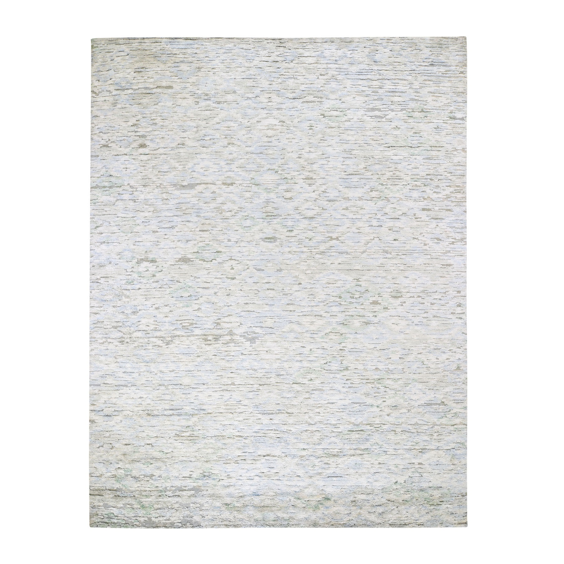 "8'9""X11'10""  Ivory Pure Silk Fluffy Collection Hand Knotted Modern Oriental Rug moad7d9d"