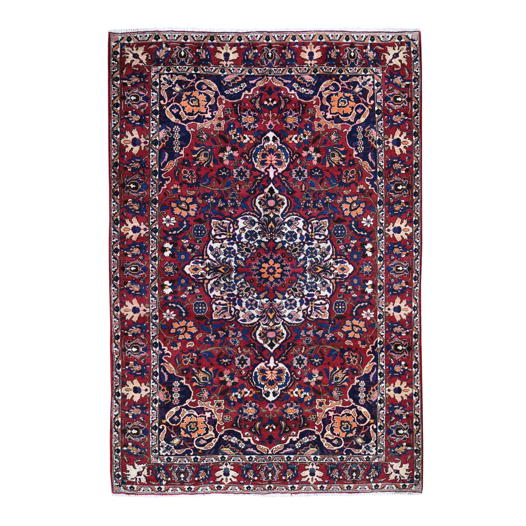 "6'8""x10'1"" Red Vintage Persian Bakhtiari Exc Condition Pure Wool Hand Knotted Oriental Rug"