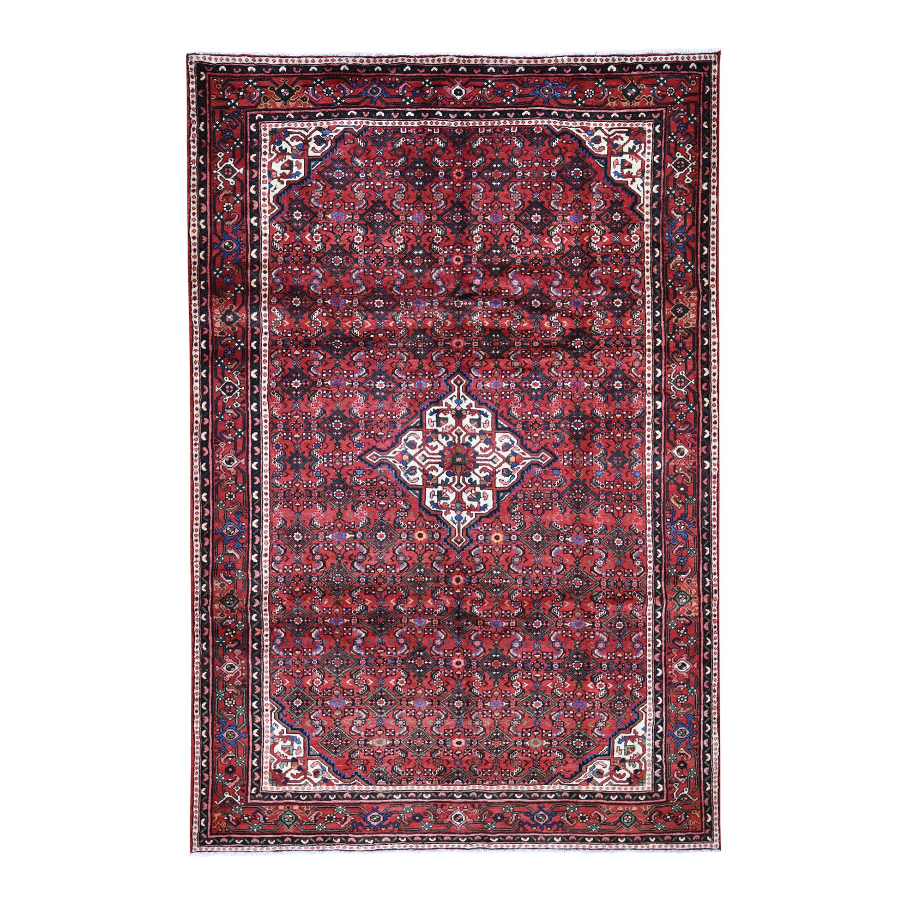 "6'9""x10'3"" Red New Persian Hamadan Pure Wool Hand Knotted Oriental Rug"