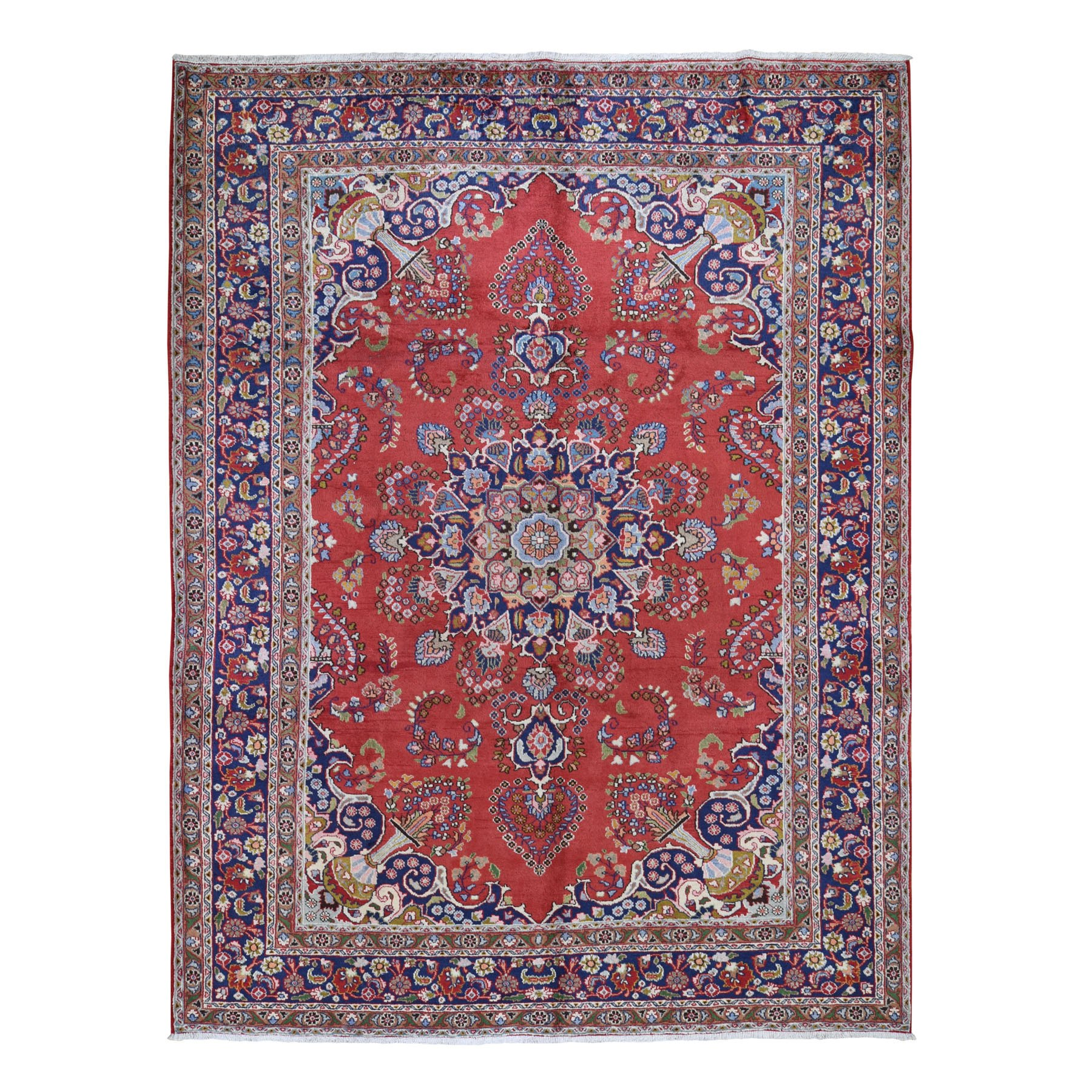 8'X11' Red New Persian Tabriz Pure Wool Full Pile Hand Knotted Oriental Rug moad7e0b
