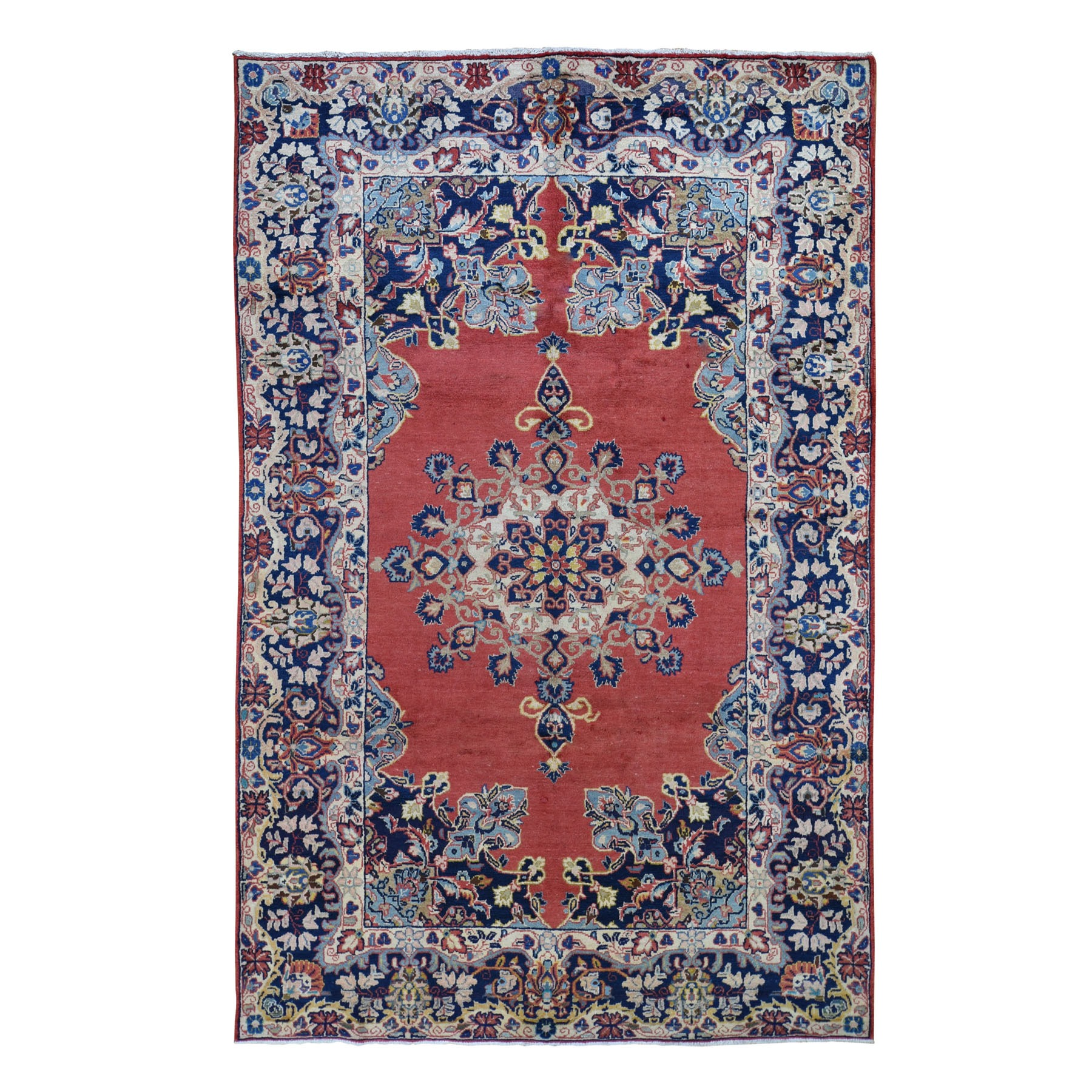 "5'9""X9'10"" Red Vintage Persian Mahal Open Field Pure Wool Hand Knotted Oriental Rug moad7e0c"