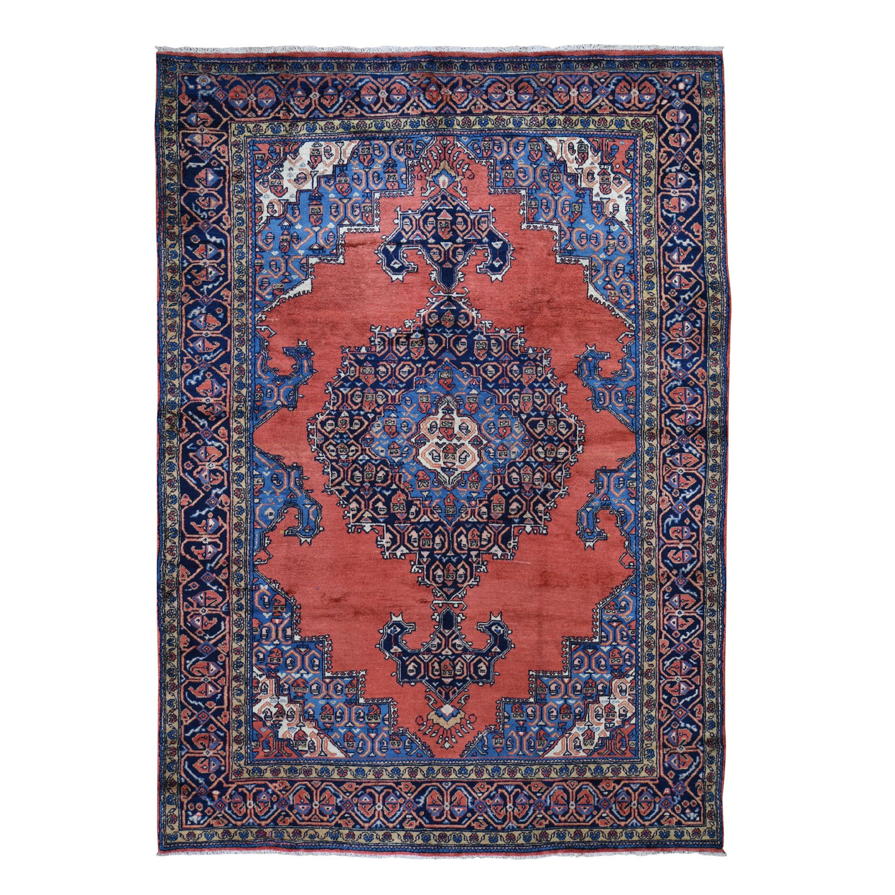 "7'4""x11'3"" Red New Persian Viss With Bijar Design Open Field Pure Wool Hand Knotted Oriental Rug"