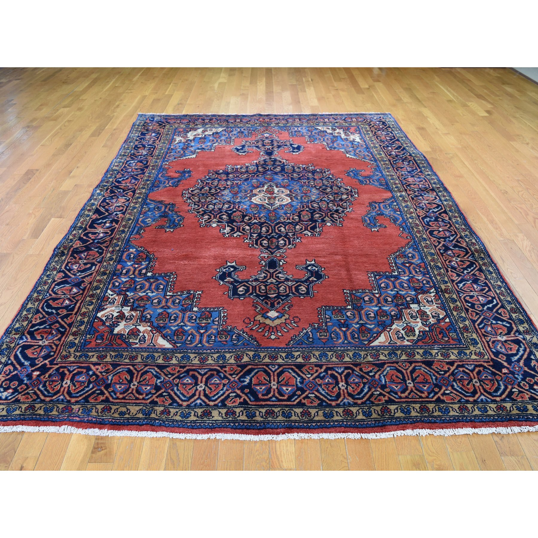 7-4 x11-3  Red New Persian Viss With Bijar Design Open Field Pure Wool Hand Knotted Oriental Rug