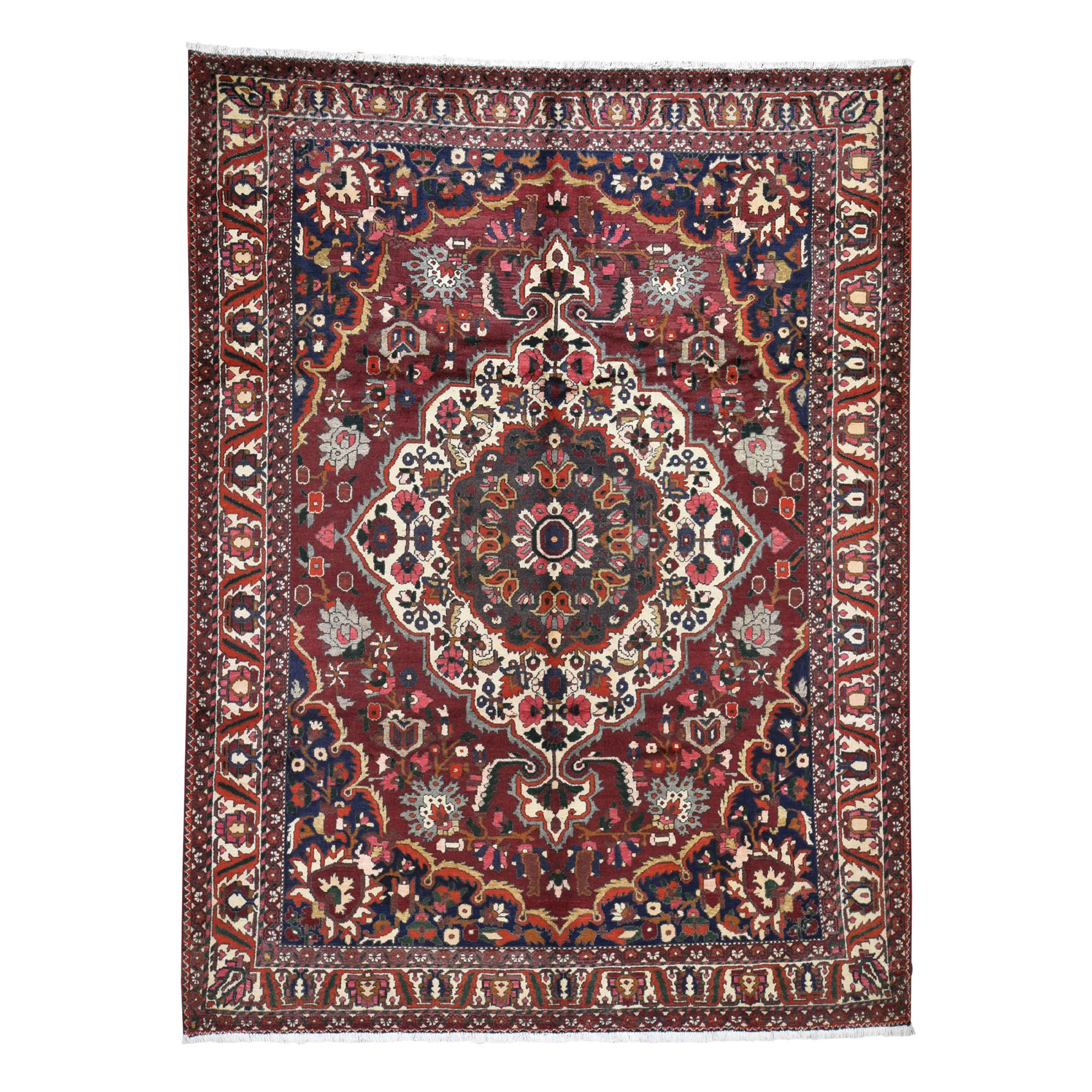 "7'5""x9'10"" Red Vintage Persian Bakhtiari Exc Condition Pure Wool Hand Knotted Oriental Rug"