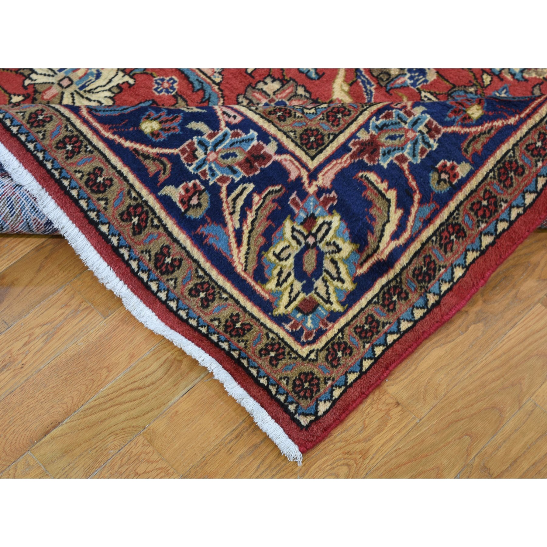 7-x10-6  Red Vintage Persian Mahal Full Pile Pure Wool Hand Knotted Oriental Rug