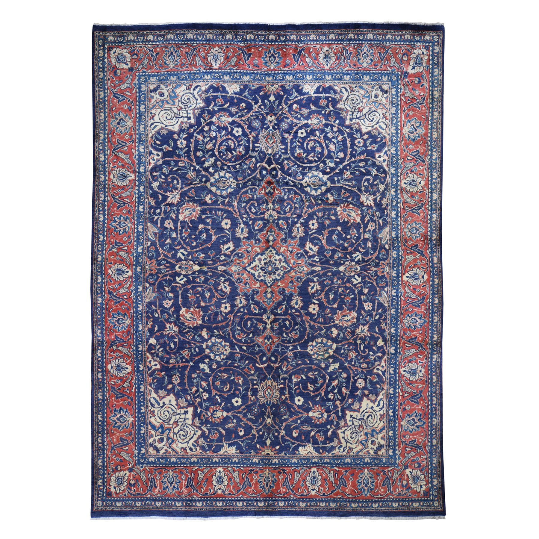 """7'8""""X11' Navy Vintage Persian Mahal Pure Wool Hand Knotted Oriental Rug moad7e09"""