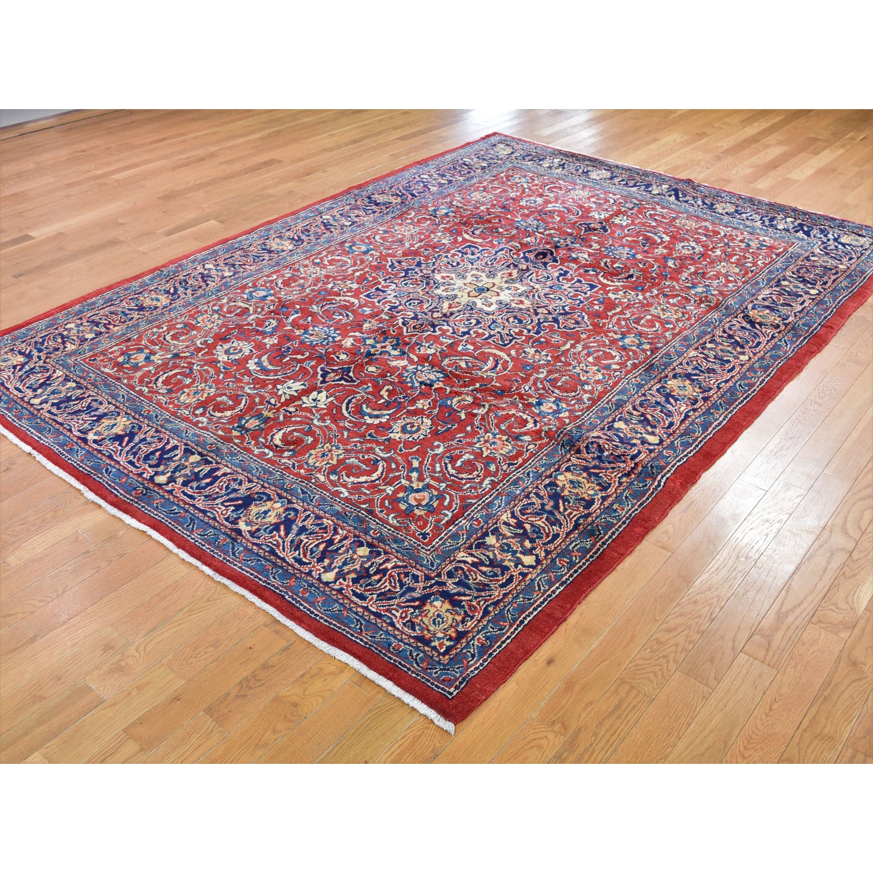 "7'3""x10'5"" Red New Persian Pure Wool Sarouk Mahal Hand Knotted Oriental Rug"