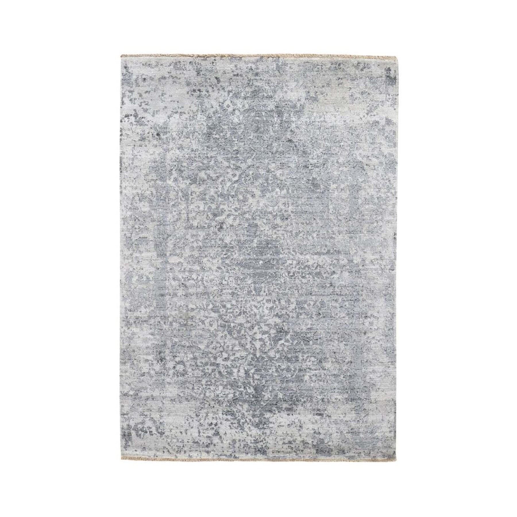 """4'1""""X6' Silver-Dark Gray Erased Persian Design Wool And Pure Silk Hand Knotted Oriental Rug moad7eac"""