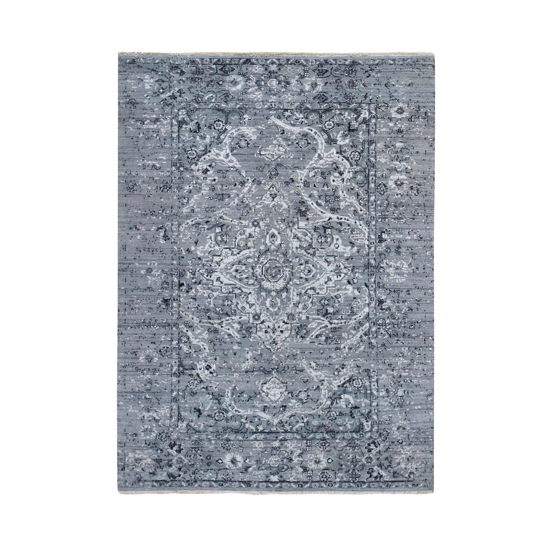 "5'1""x7'2"" Gray Broken Persian Erased Design Silk With Textured Wool Hand Knotted Oriental Rug"