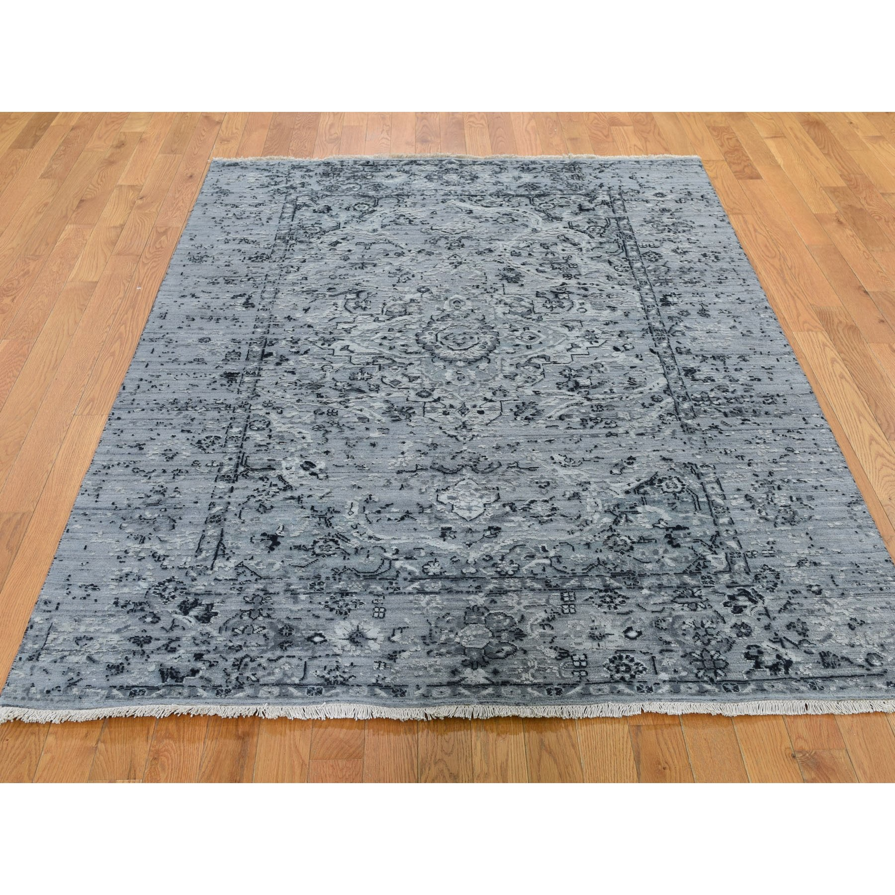 5-1 x7-2  Gray Broken Persian Erased Design Silk With Textured Wool Hand Knotted Oriental Rug