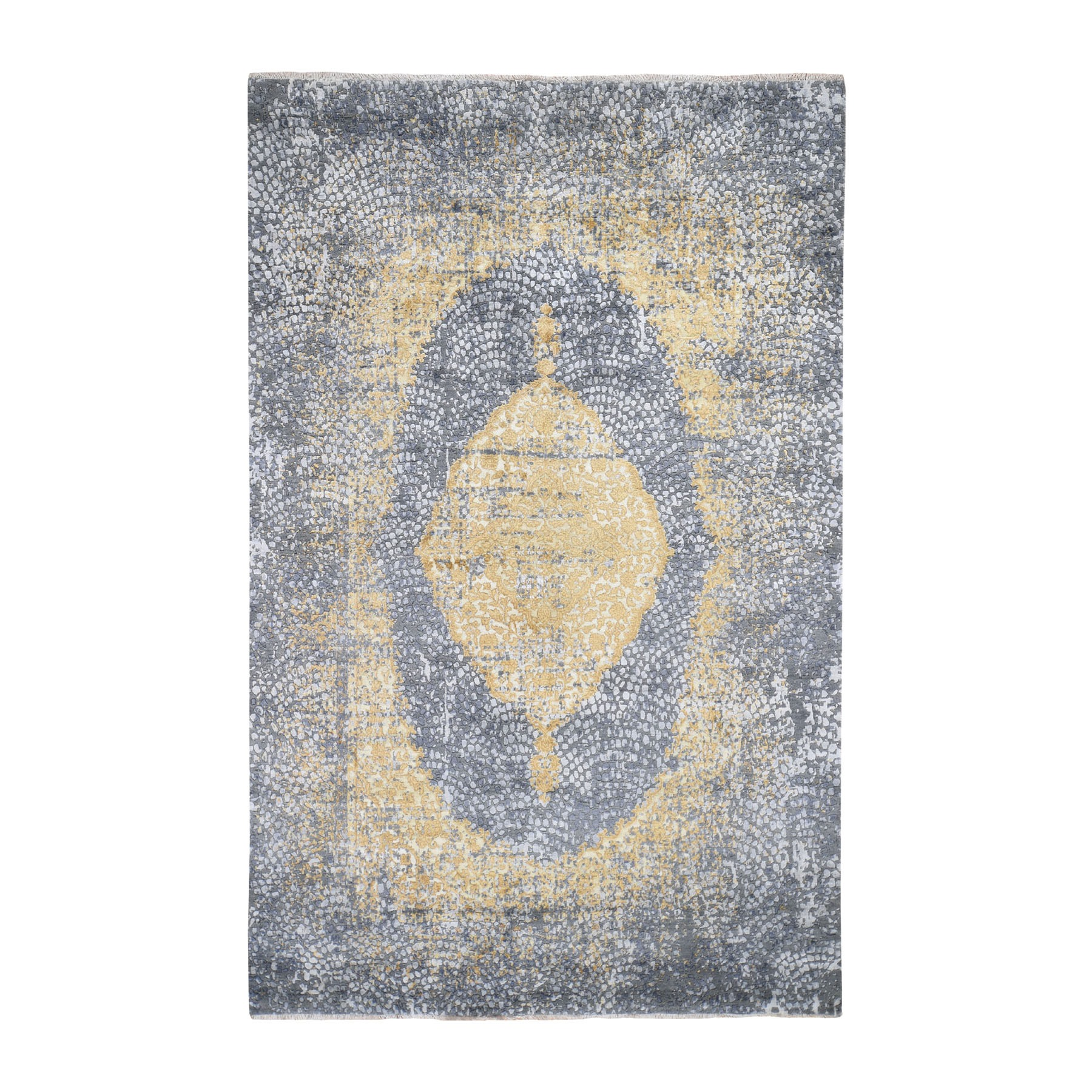 6'x9' Gray-Gold Persian Design Wool And Pure Silk Hand Knotted Oriental Rug