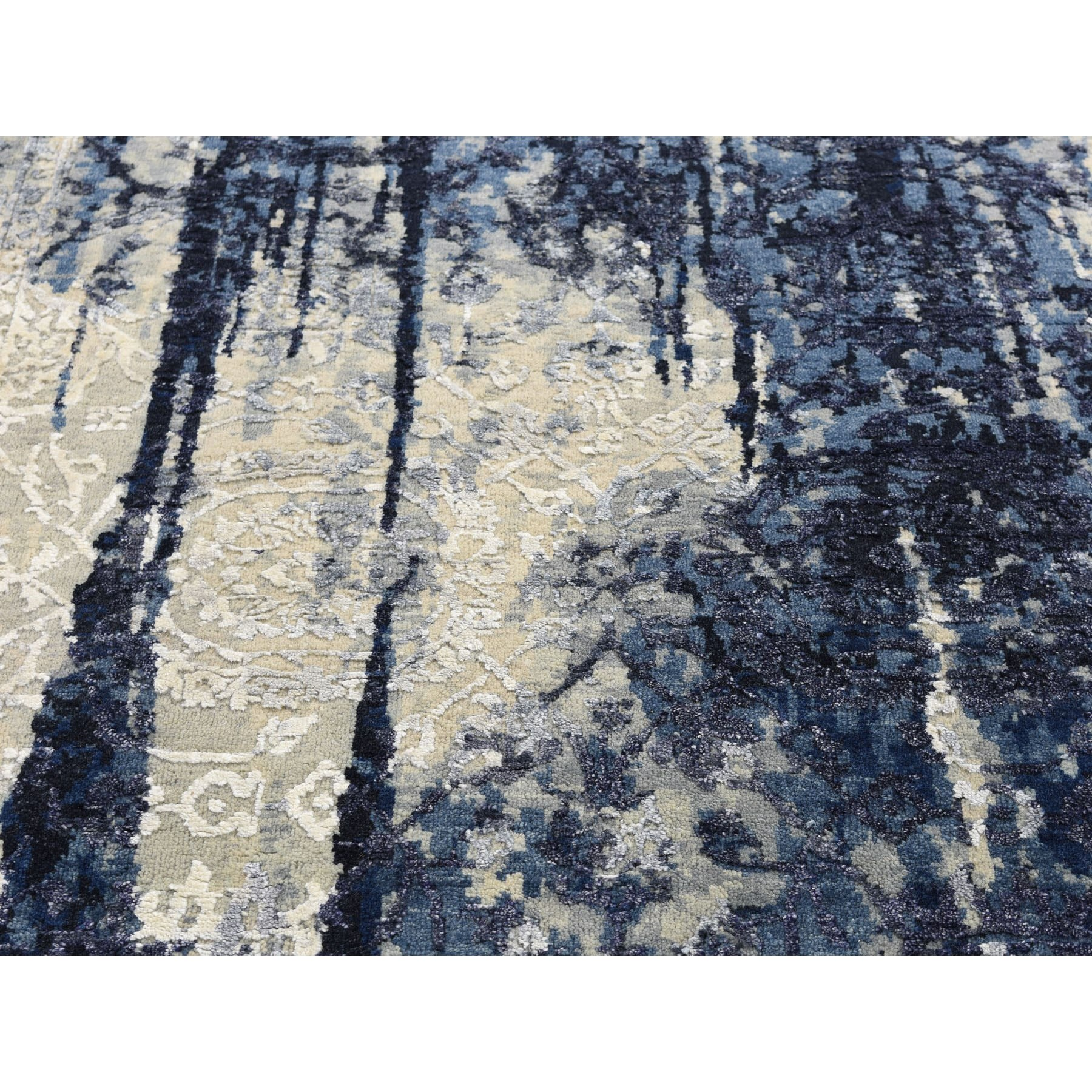 5-1 x6-10  Wool And Silk Shibori Design Tone On Tone Hand Knotted Oriental Rug