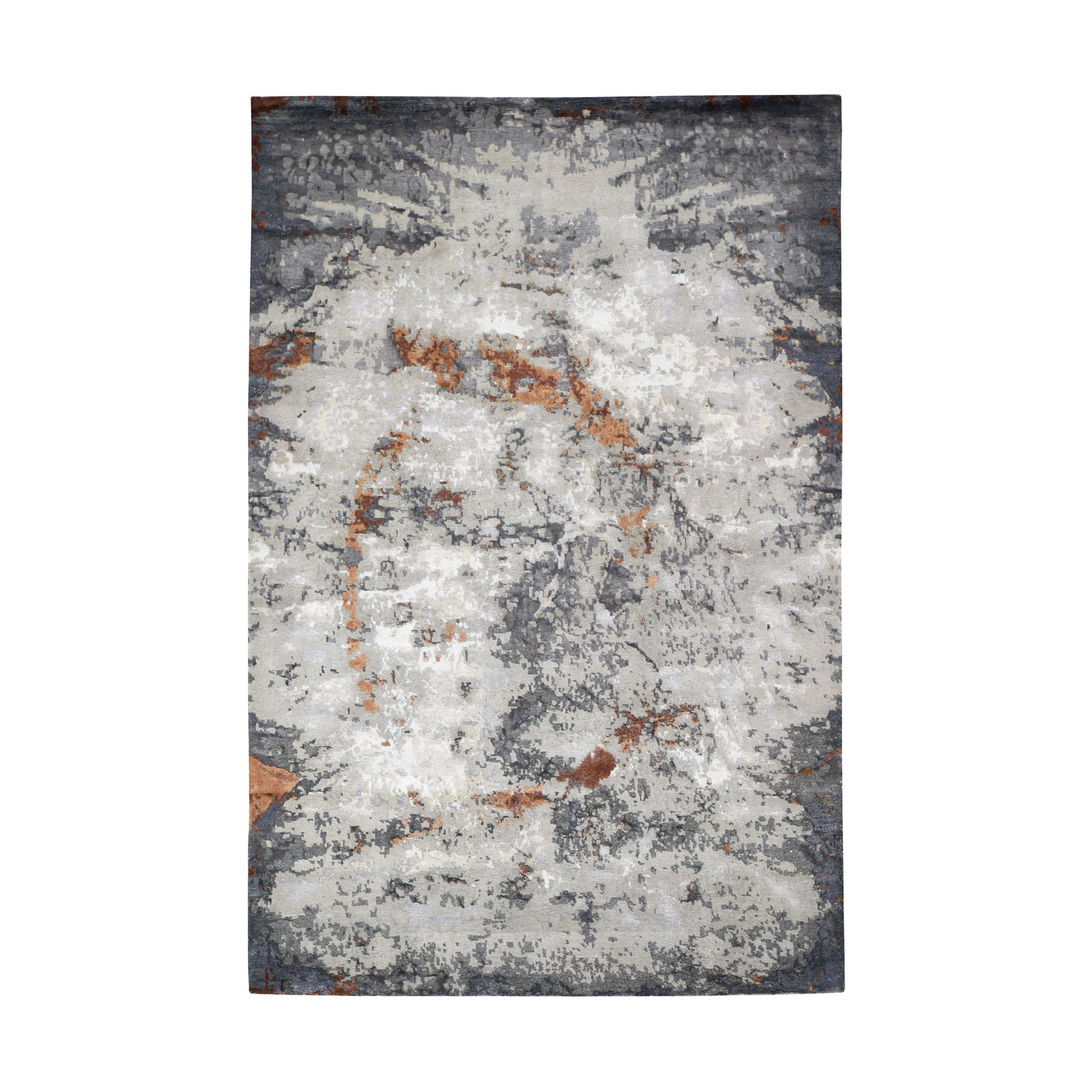 "6'X9'1"" Hi-Low Pile Abstract Design Wool And Silk Hand Knotted Oriental Rug moad7eb0"
