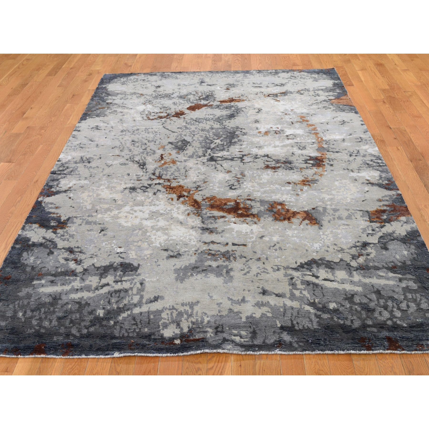 "6'x9'1"" Hi-Low Pile Abstract Design Wool And Silk Hand Knotted Oriental Rug"