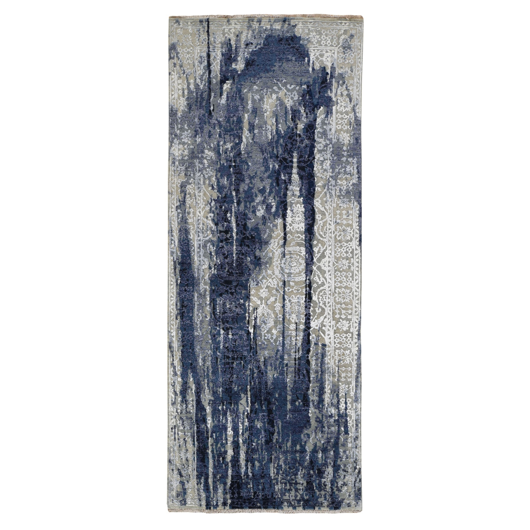 "4'X10"" Wool And Silk Shibori Design Wide Runner Tone On Tone Hand Knotted Oriental Rug moad7ebb"