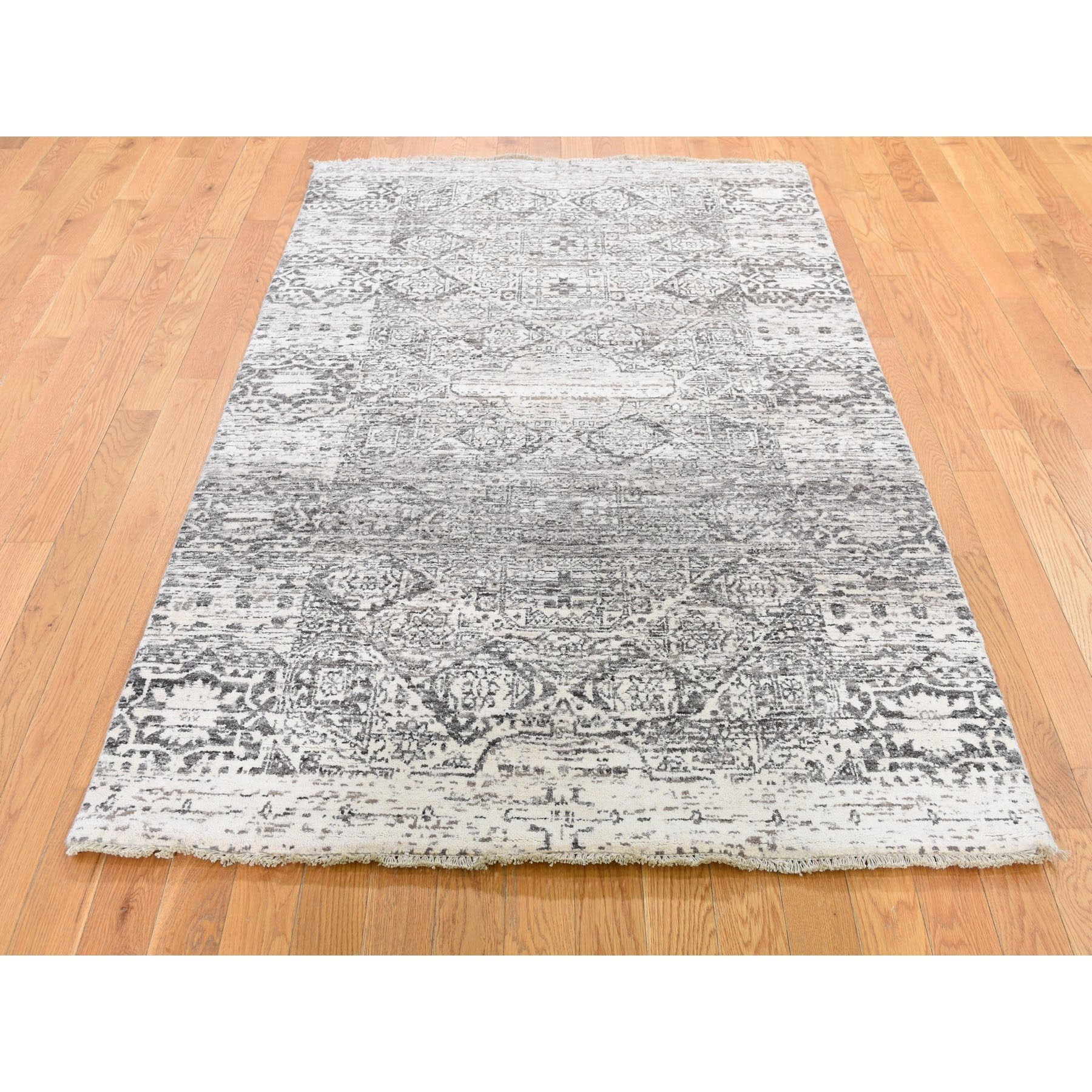 """4'x6'3"""" Undyed Natural Wool Mamluk Design Hand Knotted Oriental Rug"""