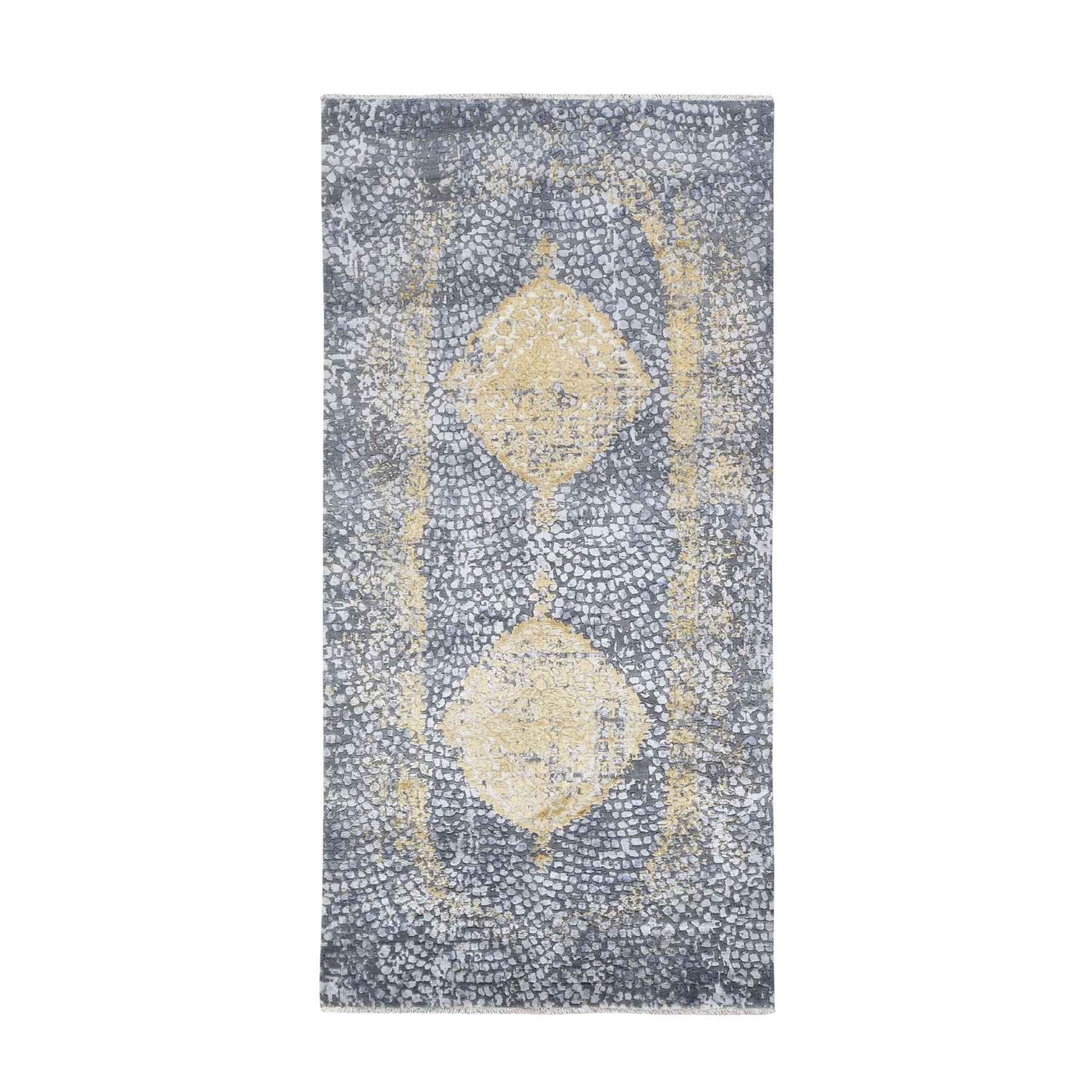 3'X8' Gray-Gold Persian Design Wool And Pure Silk Hand Knotted Oriental Rug moad7ebd