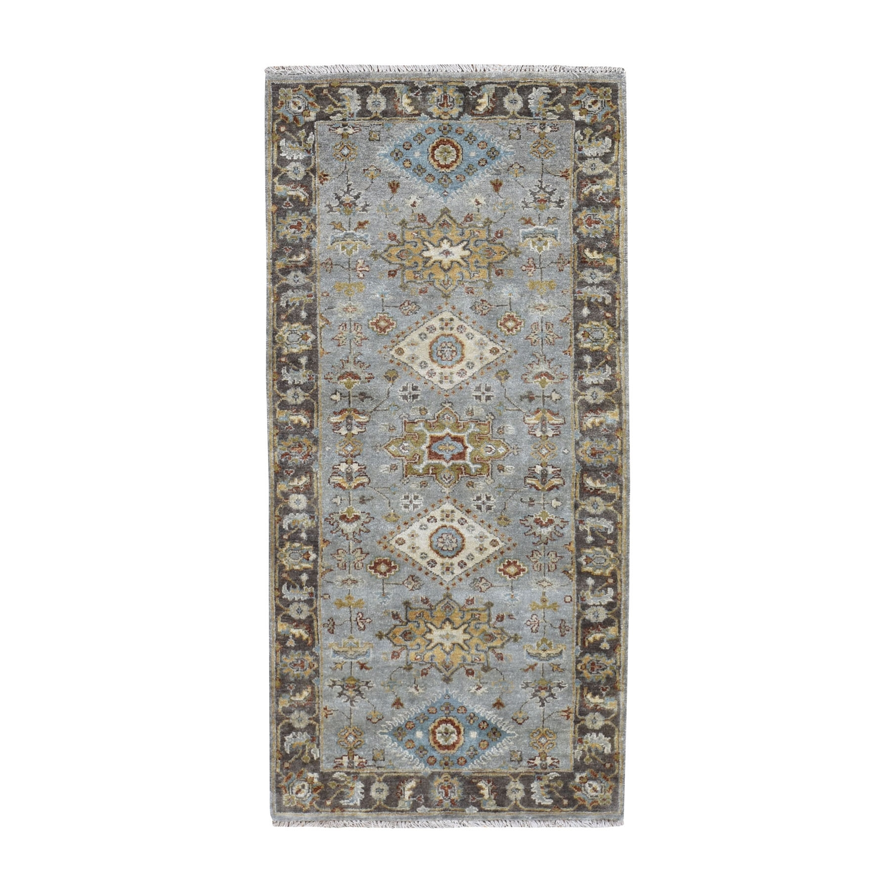 "2'8""x5'10"" Gray Karajeh Design Pure Wool Hand Knotted Runner Oriental Rug"