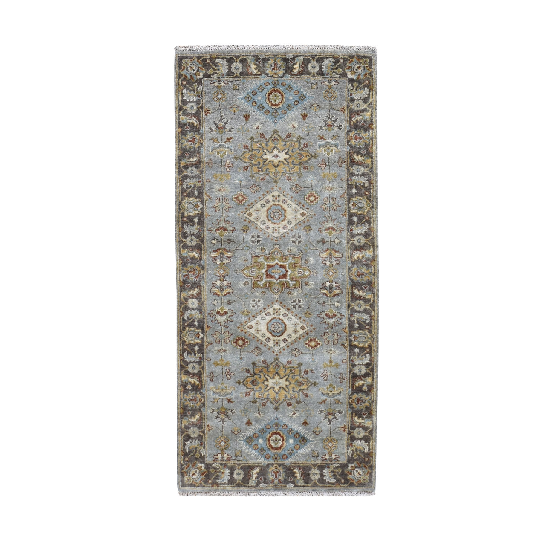 "2'8""x6' Gray Karajeh Design Pure Wool Hand Knotted Runner Oriental Rug"