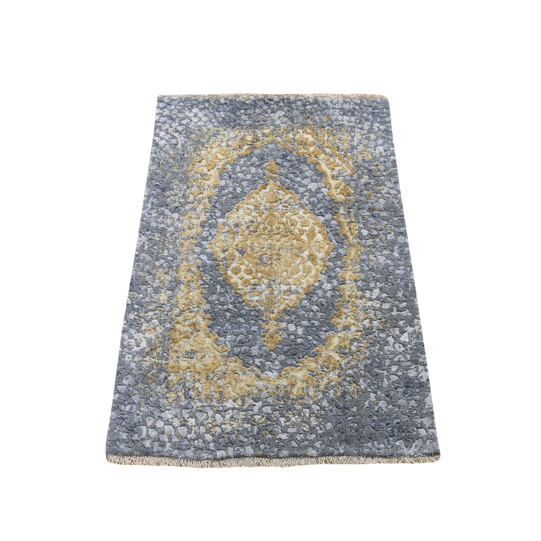 2'X3' Gray-Gold Persian Design Wool And Pure Silk Hand Knotted Oriental Rug moad7ec0