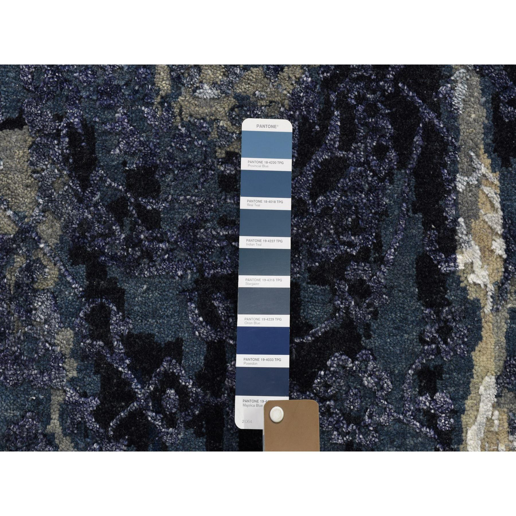 "10'x13'9"" Wool And Silk Shibori Design Tone On Tone Hand Knotted Oriental Rug"