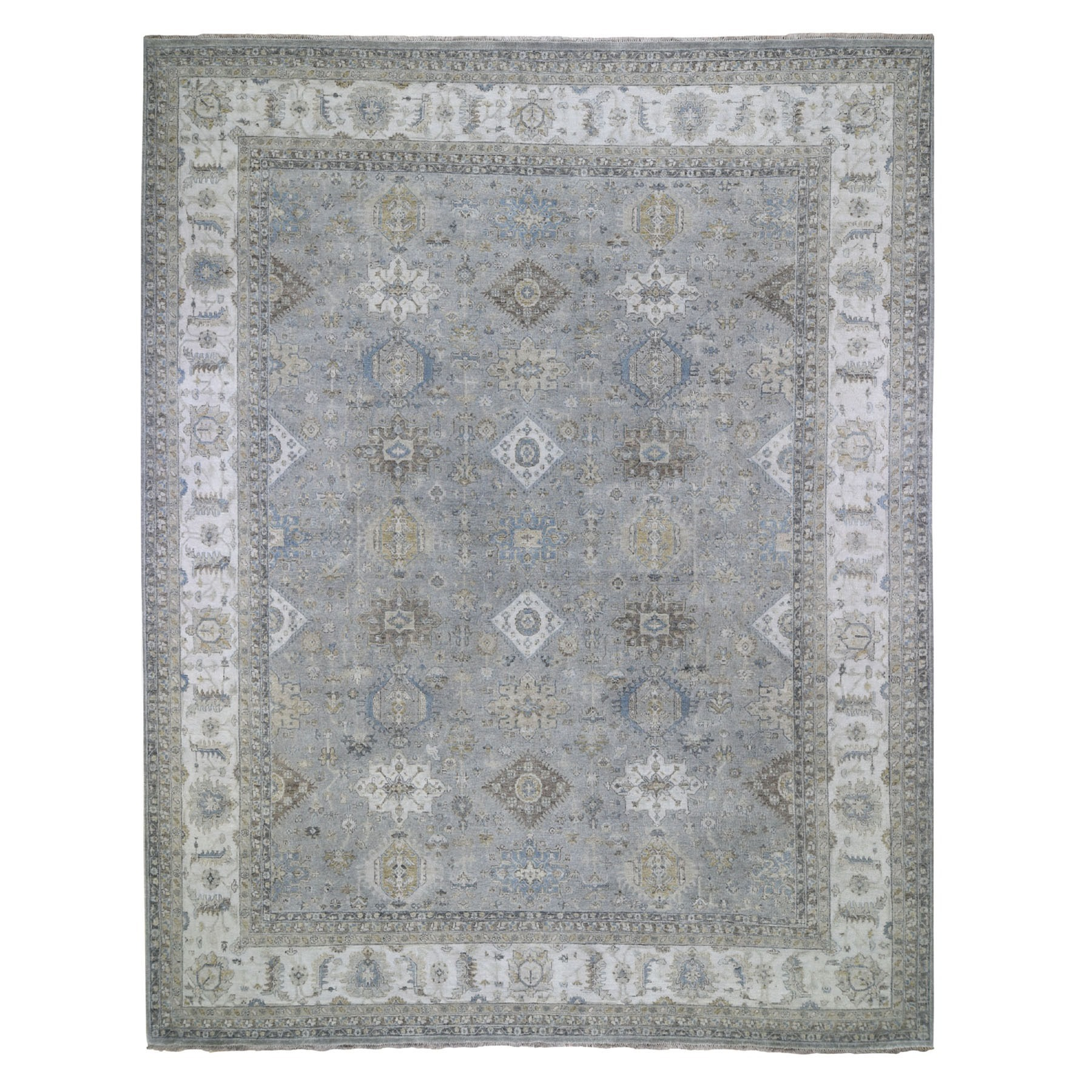 """11'9""""X14'9"""" Oversize Karajeh Design Pure Wool Gray Hand Knotted Oriental Rug moad7ecd"""