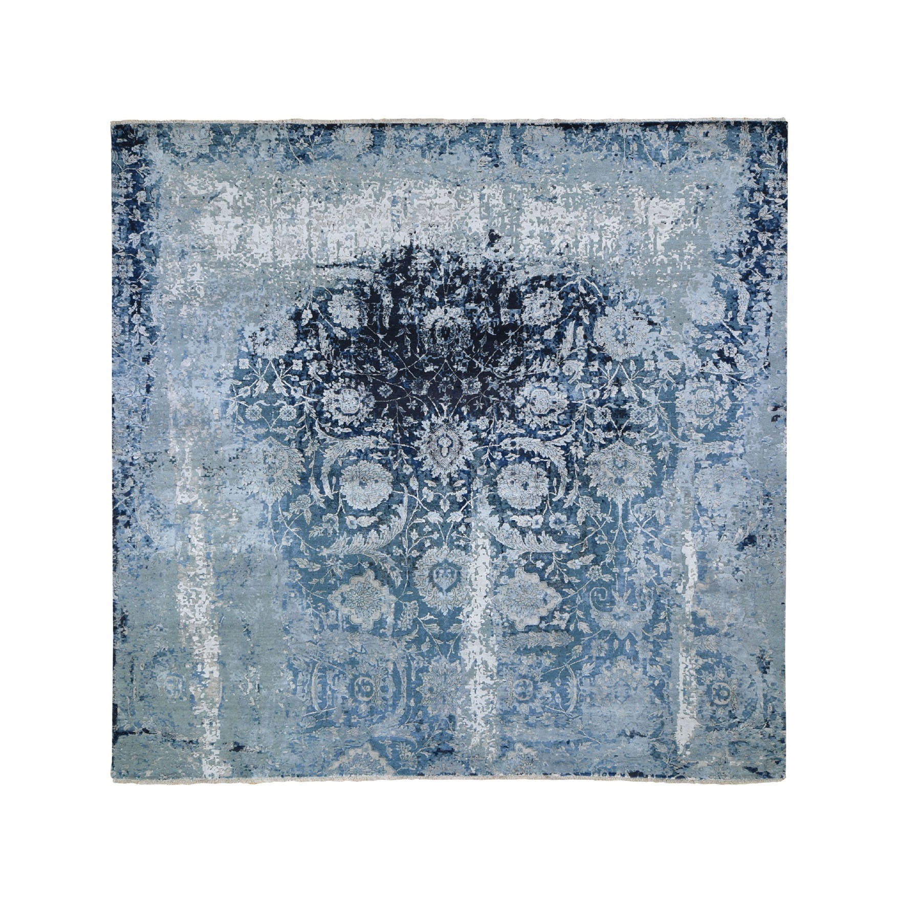 "10'1""X10'1"" Square Wool And Silk Persian Tabriz Erased Design Hand Knotted Oriental Rug moad7ece"