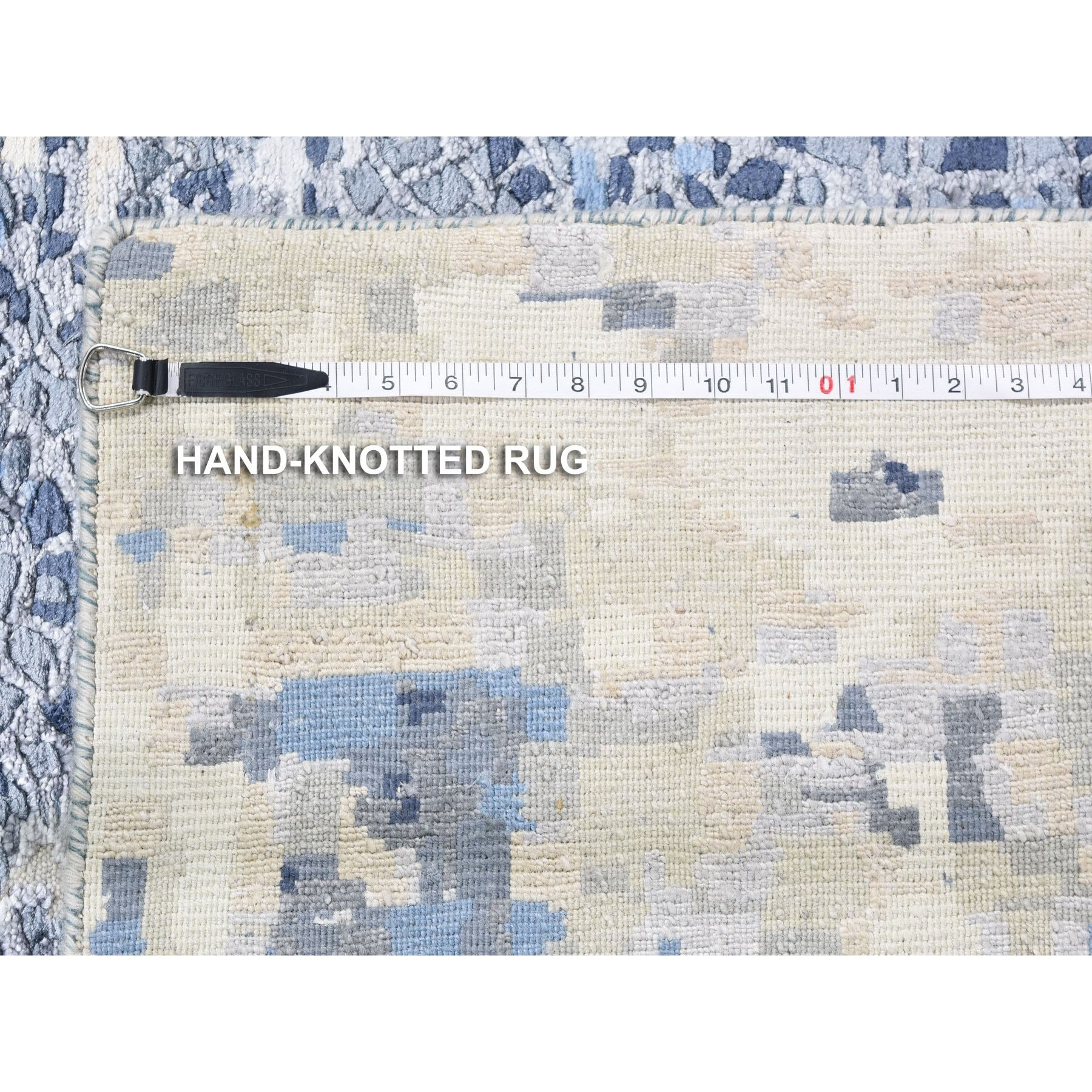 """10'x13'10"""" Abstract With Mosaic Design Wool And Silk Hand Knotted Oriental Rug"""