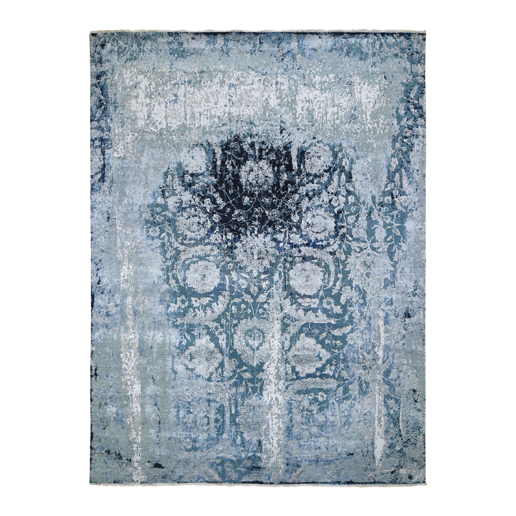 """9'X11'9"""" Wool And Silk Persian Tabriz Erased Design Hand Knotted Oriental Rug moad7ec7"""