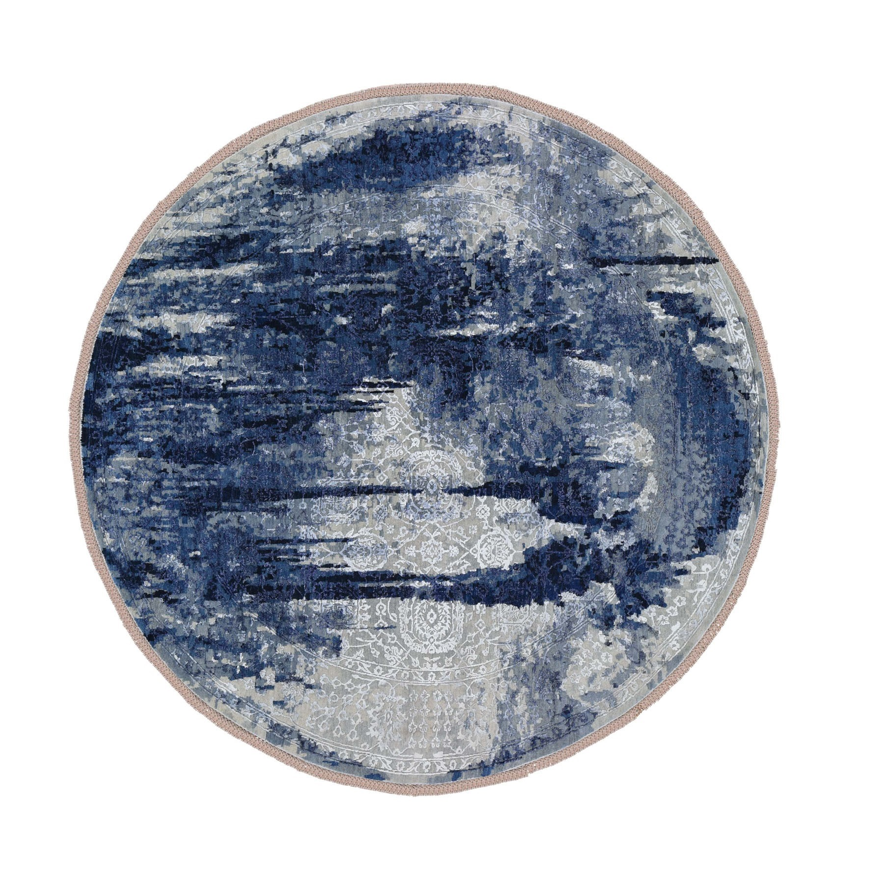 "9'8""X9'8"" Round Wool And Silk Shibori Design Tone On Tone Hand Knotted Oriental Rug moad7eda"