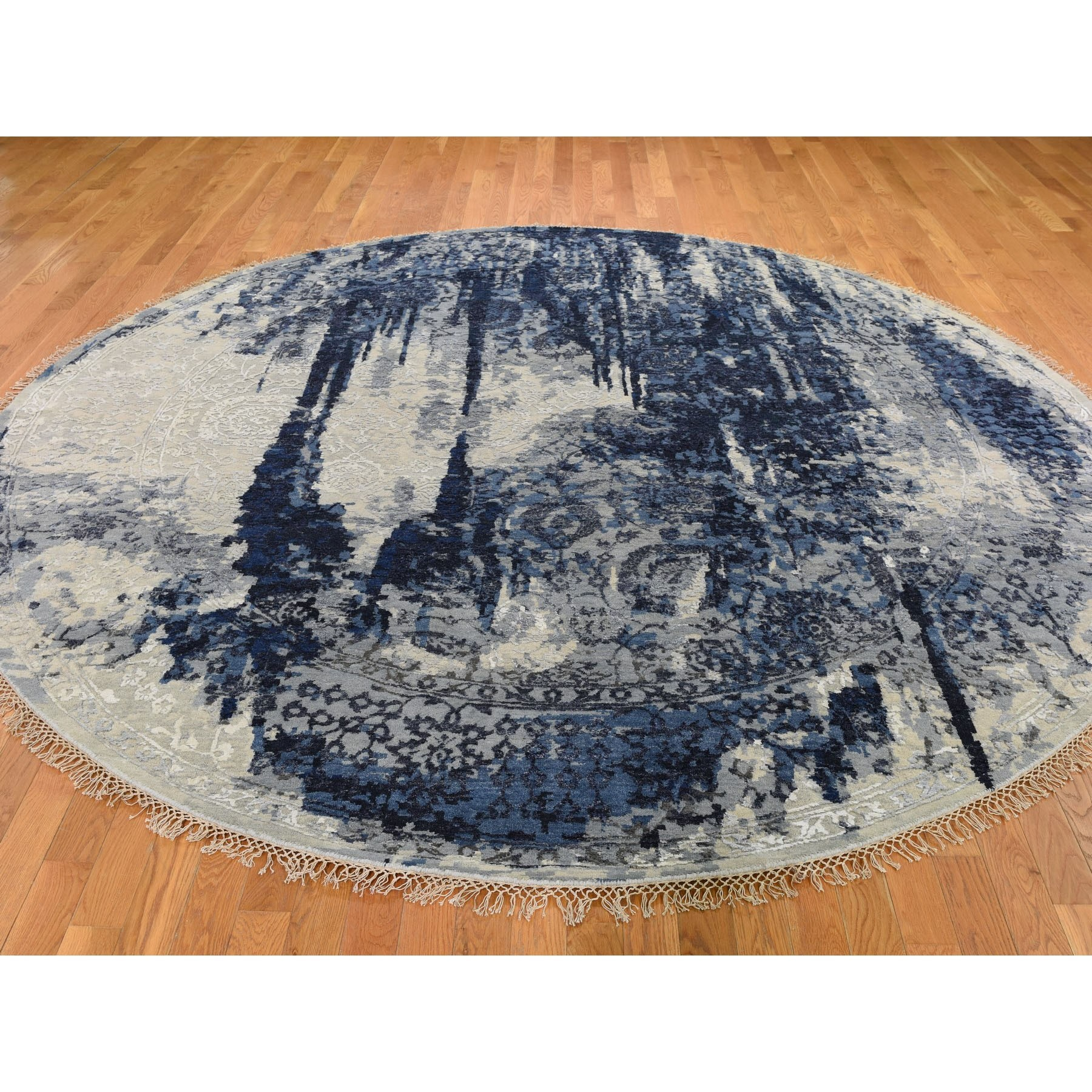 "9'8""x9'8"" Round Wool And Silk Shibori Design Tone On Tone Hand Knotted Oriental Rug"
