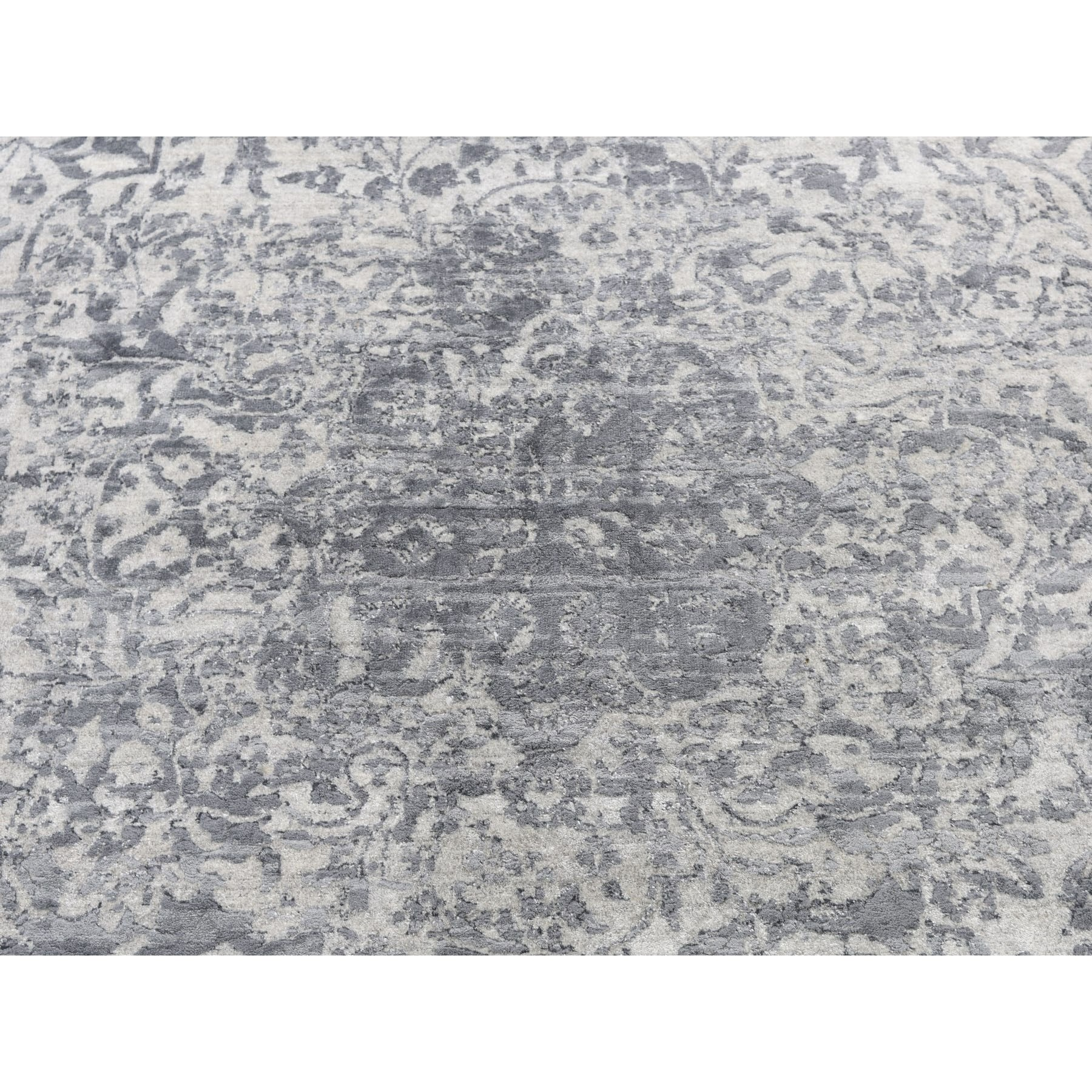 10'x14' Silver-Dark Gray Erased Persian Design Wool and Pure Silk Hand Knotted Oriental Rug