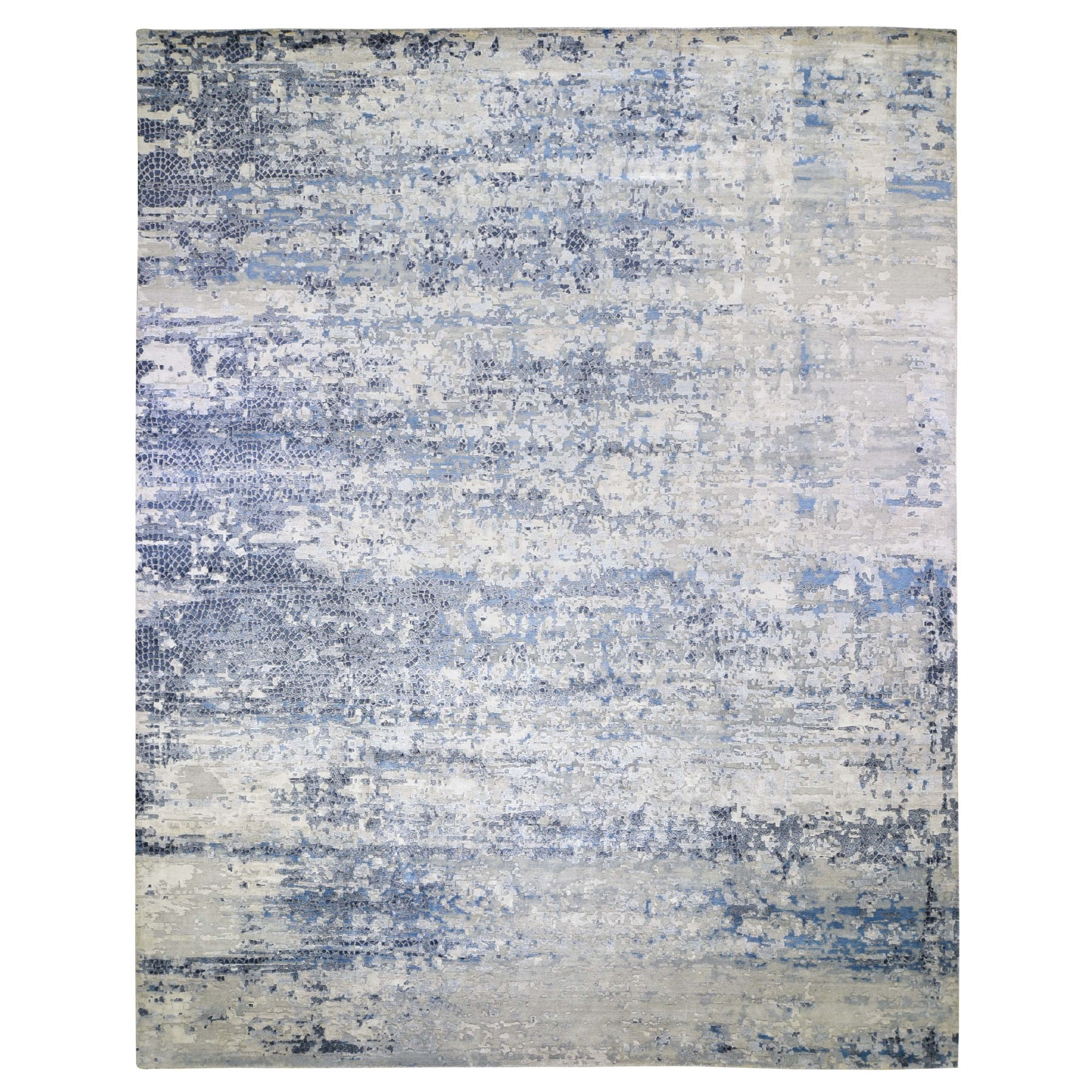 "12'x15'1"" Oversize Abstract With Mosaic Design Wool And Silk Hand Knotted Oriental Rug"