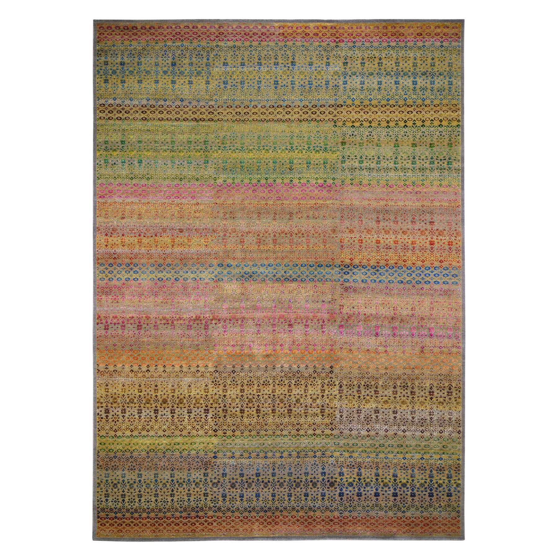 10'x14' Colorful Grass Design Sari Silk Textured Wool Modern Hand Knotted Oriental Rug