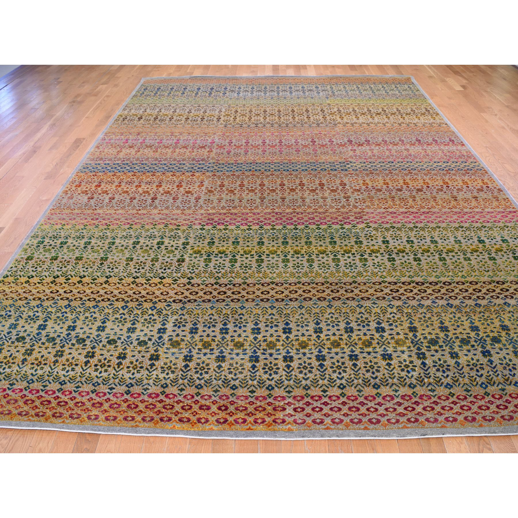 10-x14- Colorful Grass Design Sari Silk Textured Wool Modern Hand Knotted Oriental Rug