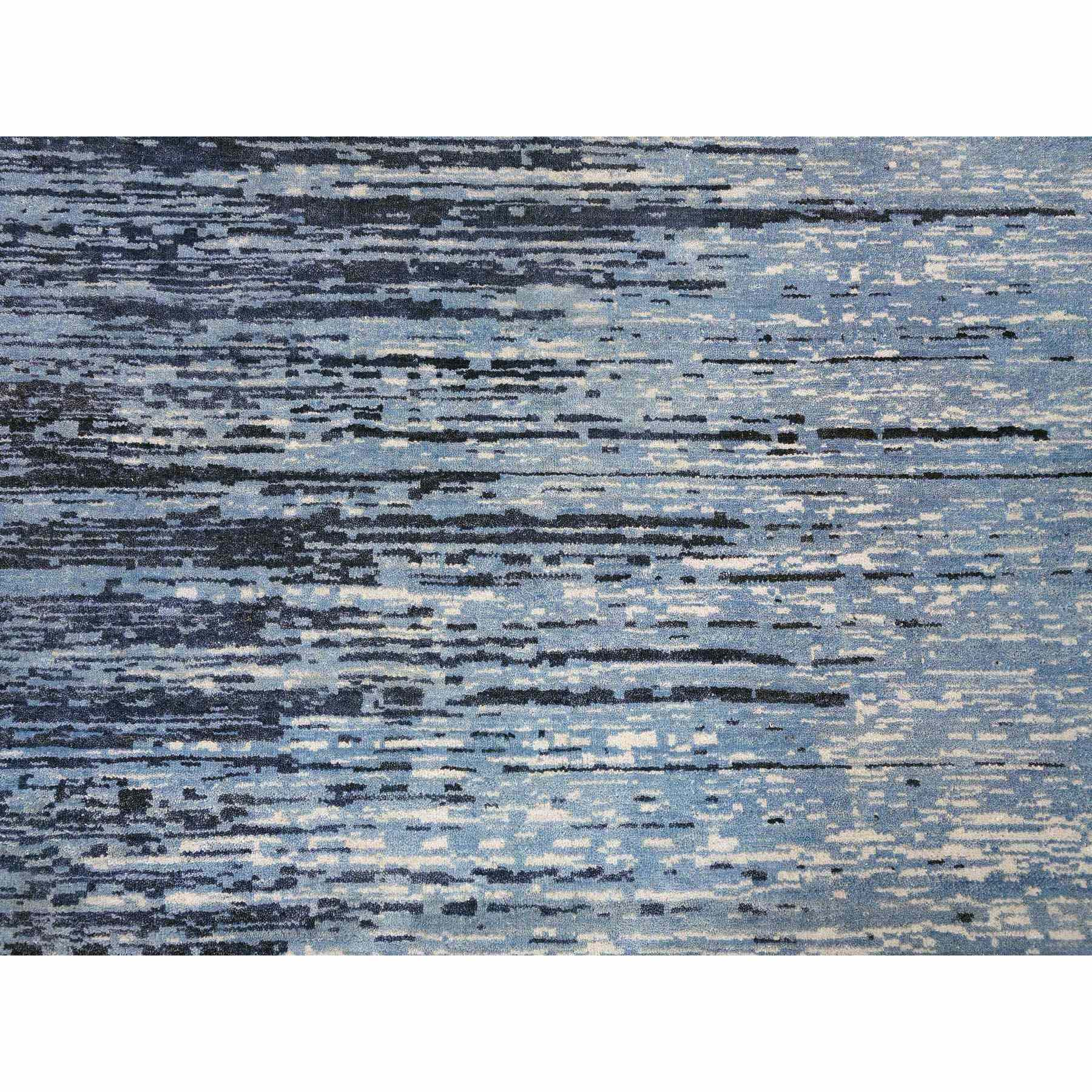 """9'x12'2"""" Zero Pile Pure Wool Blue Oceanic Ombre Design Hand Knotted Oriental Rug"""