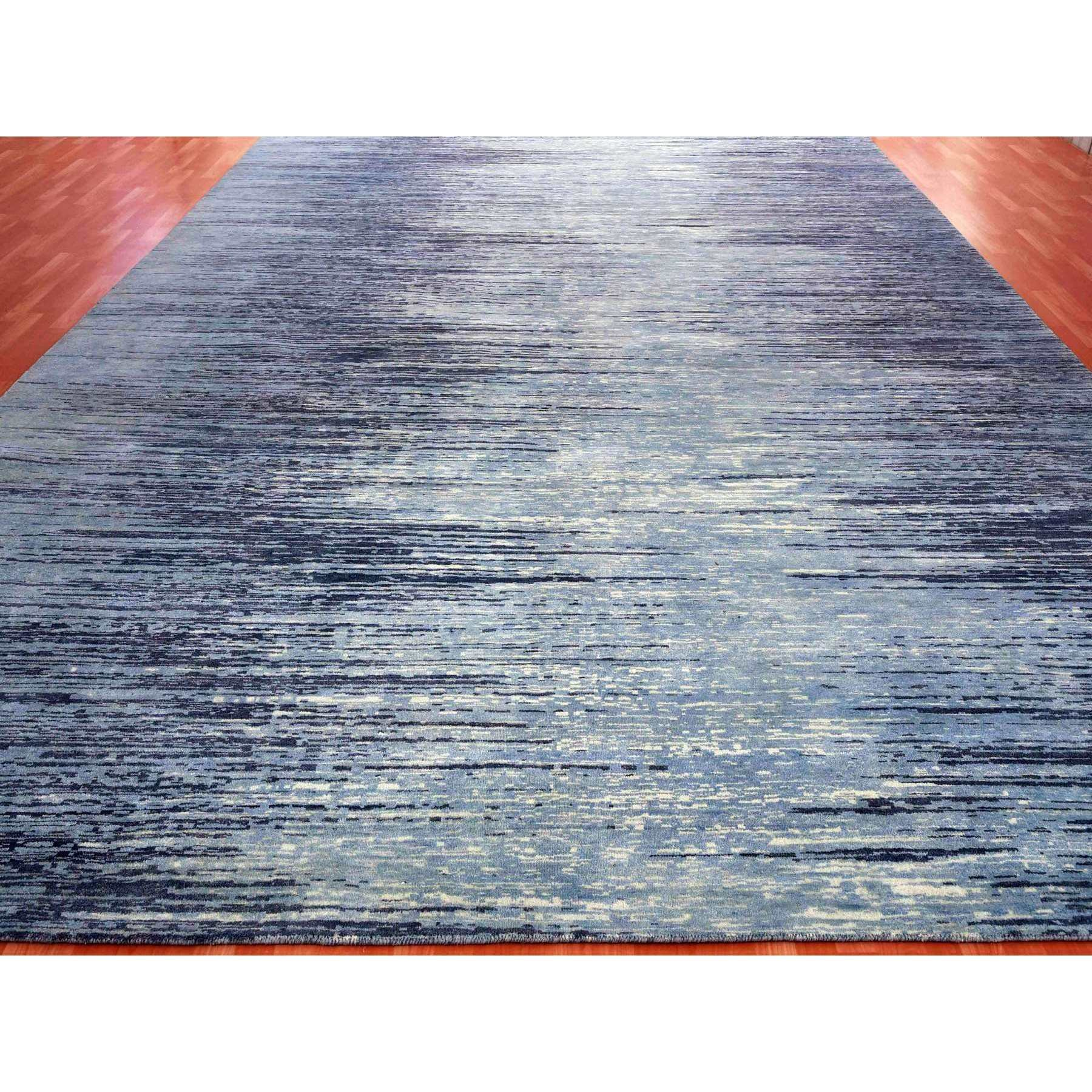 9-x12-1  Zero Pile Pure Wool Blue Oceanic Ombre Design Hand Knotted Oriental Rug