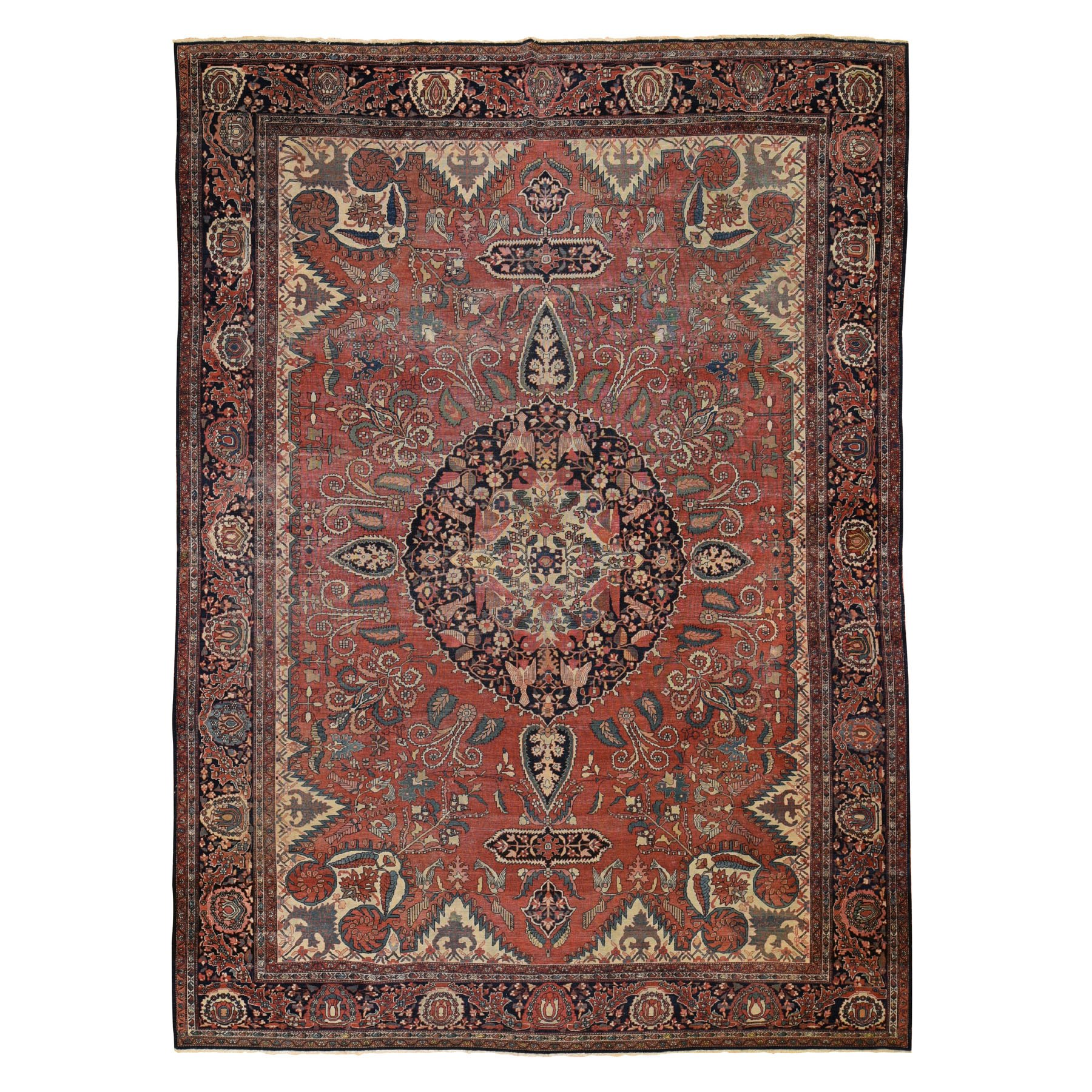 "8'10""x11'10"" Antique Sarouk Fereghan Even Wear Worn Hand Knotted Oriental Rug"