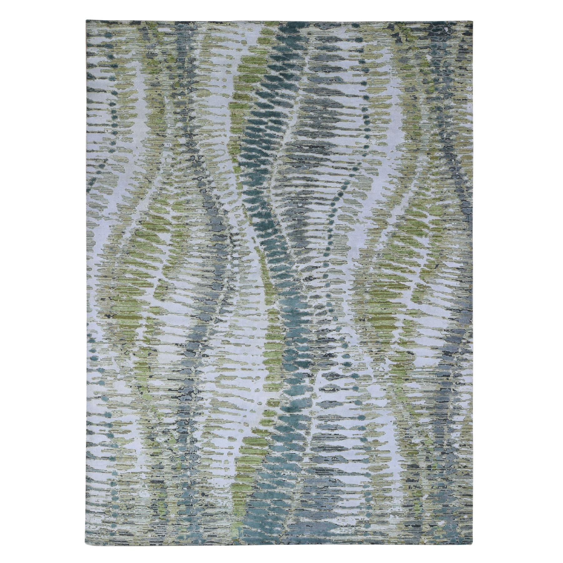 "9'1""X12' Green Safari Tree Design Silk With Textured Wool Hand Knotted Oriental Rug moa"
