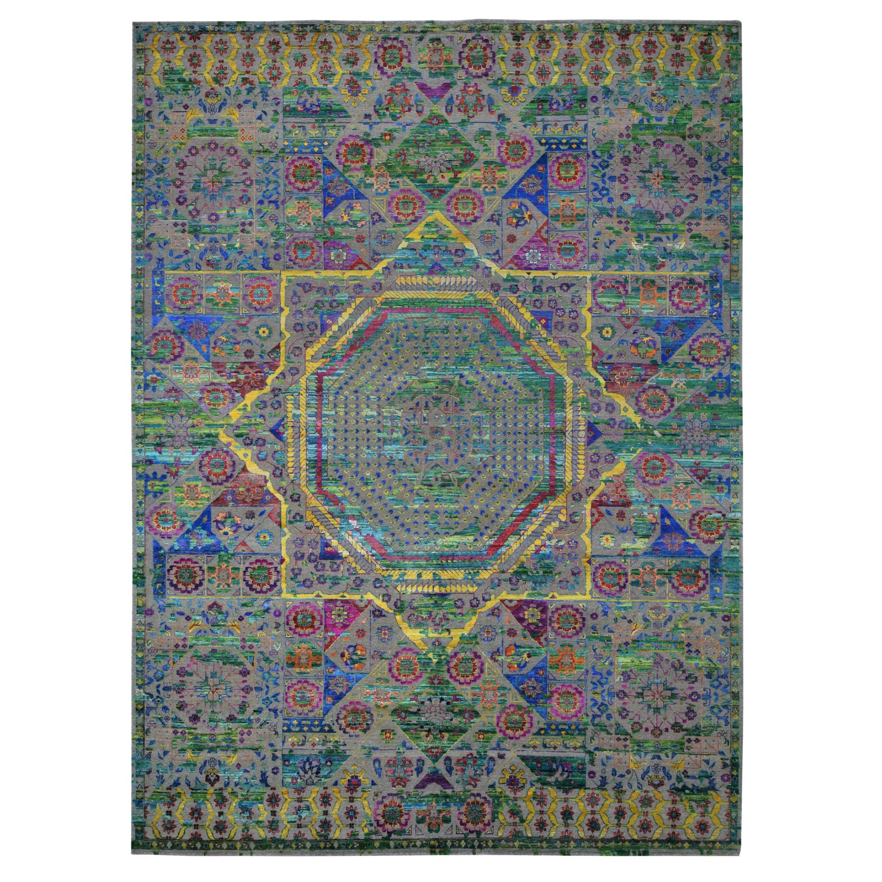 10'x14' Colorful Sari Silk Mamluk Design Hand Knotted Oriental Rug