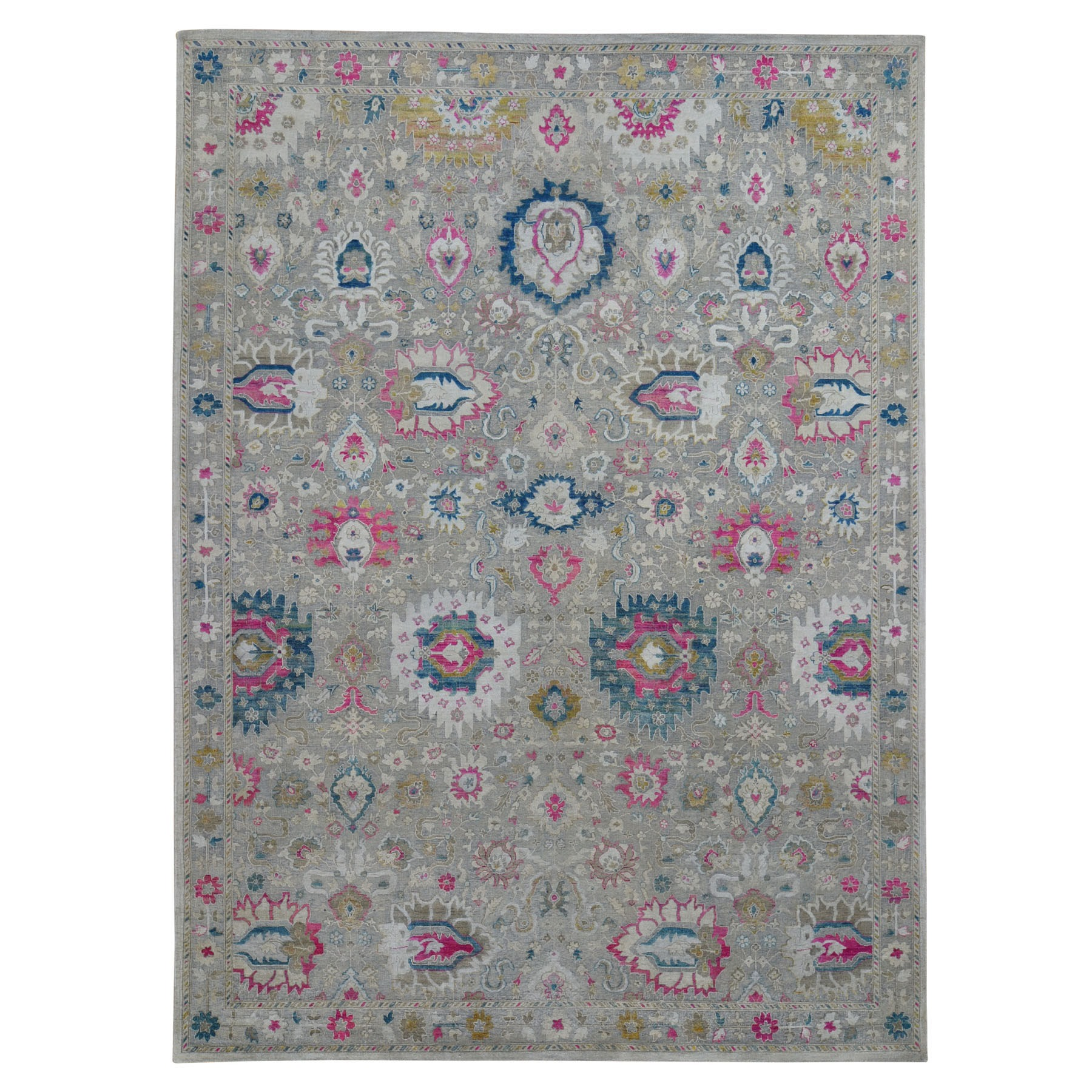 "9'x12'1"" Colorful Sari Silk With Textured Wool Hand Knotted Oushak Influence Rug"