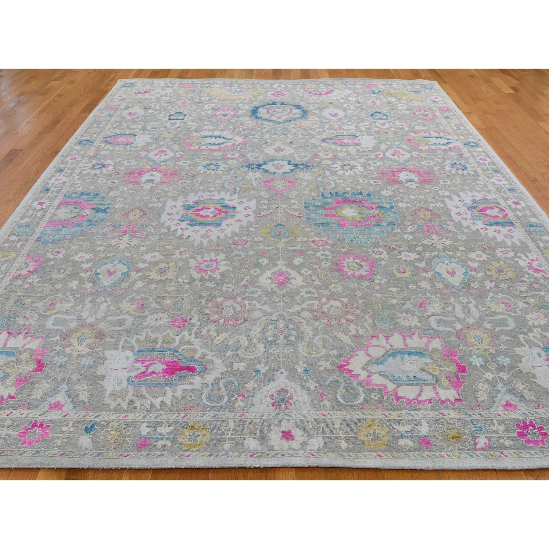 9-x12-1  Colorful Sari Silk With Textured Wool Hand Knotted Oushak Influence Rug
