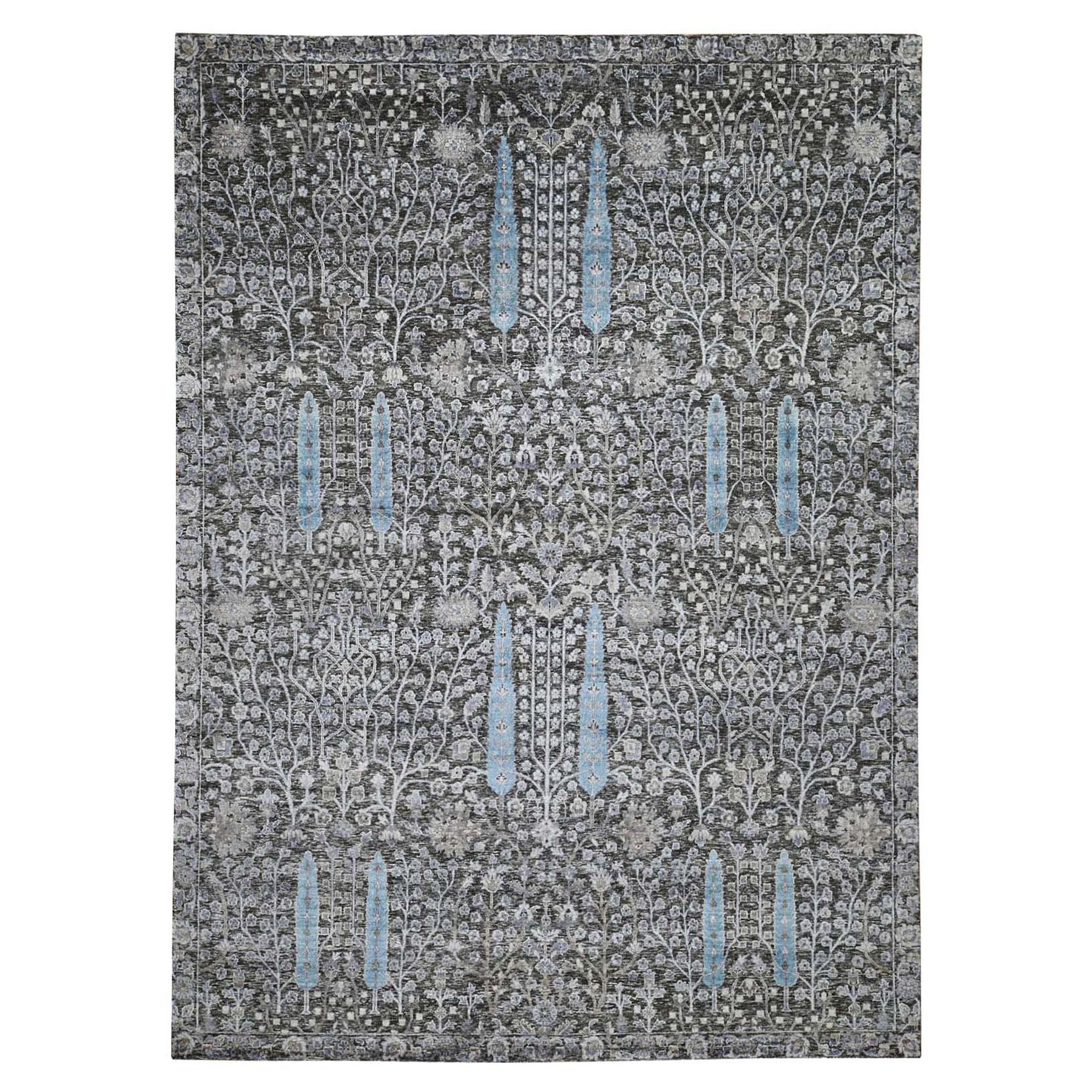 "9'2""X12'5"" Hand Knotted Cypress Tree Design Silk With Textured Wool Oriental Rug moad7eec"