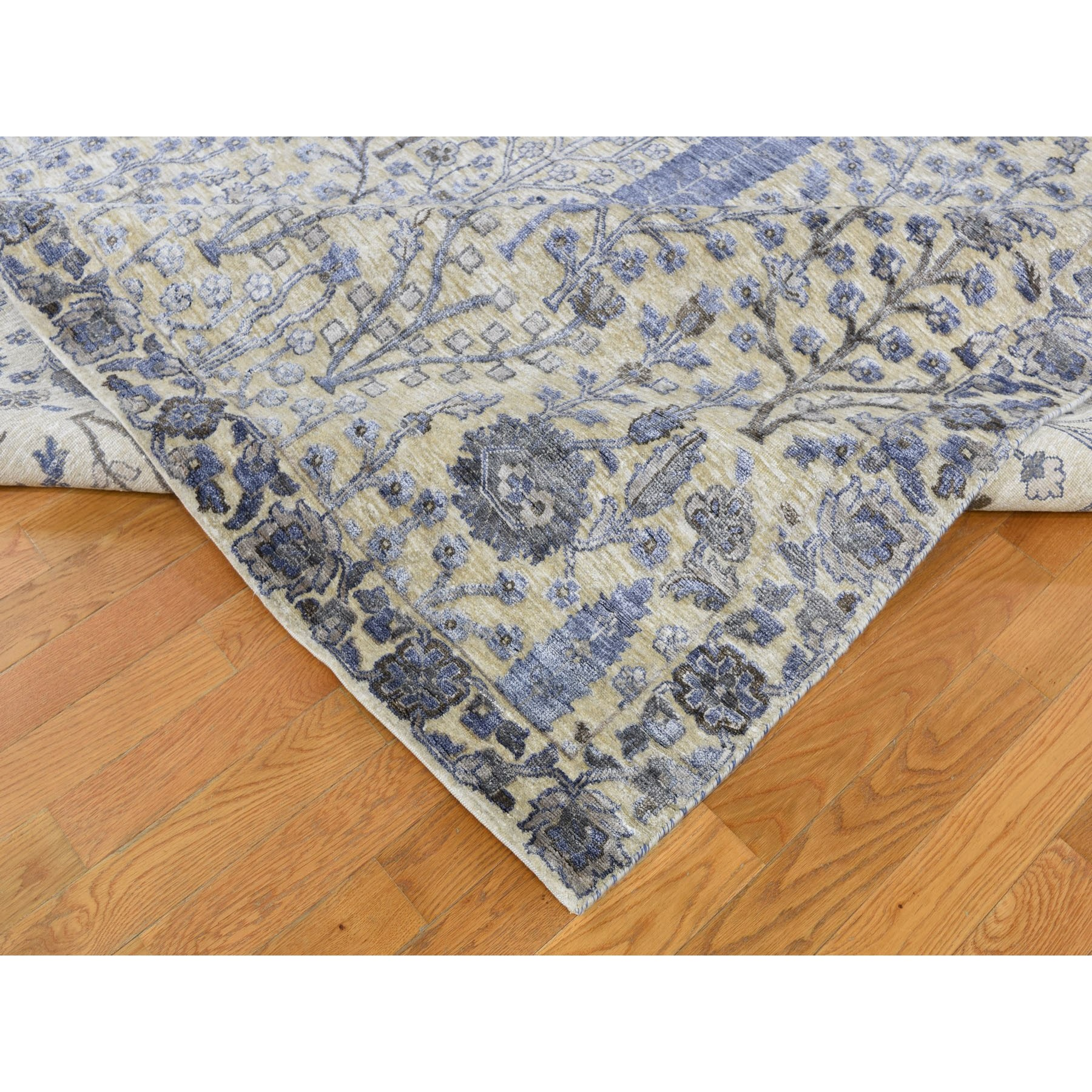 10-x14-2  Willow And Cypress Tree Design Silk With Textured Wool Hand Knotted Oriental Rug