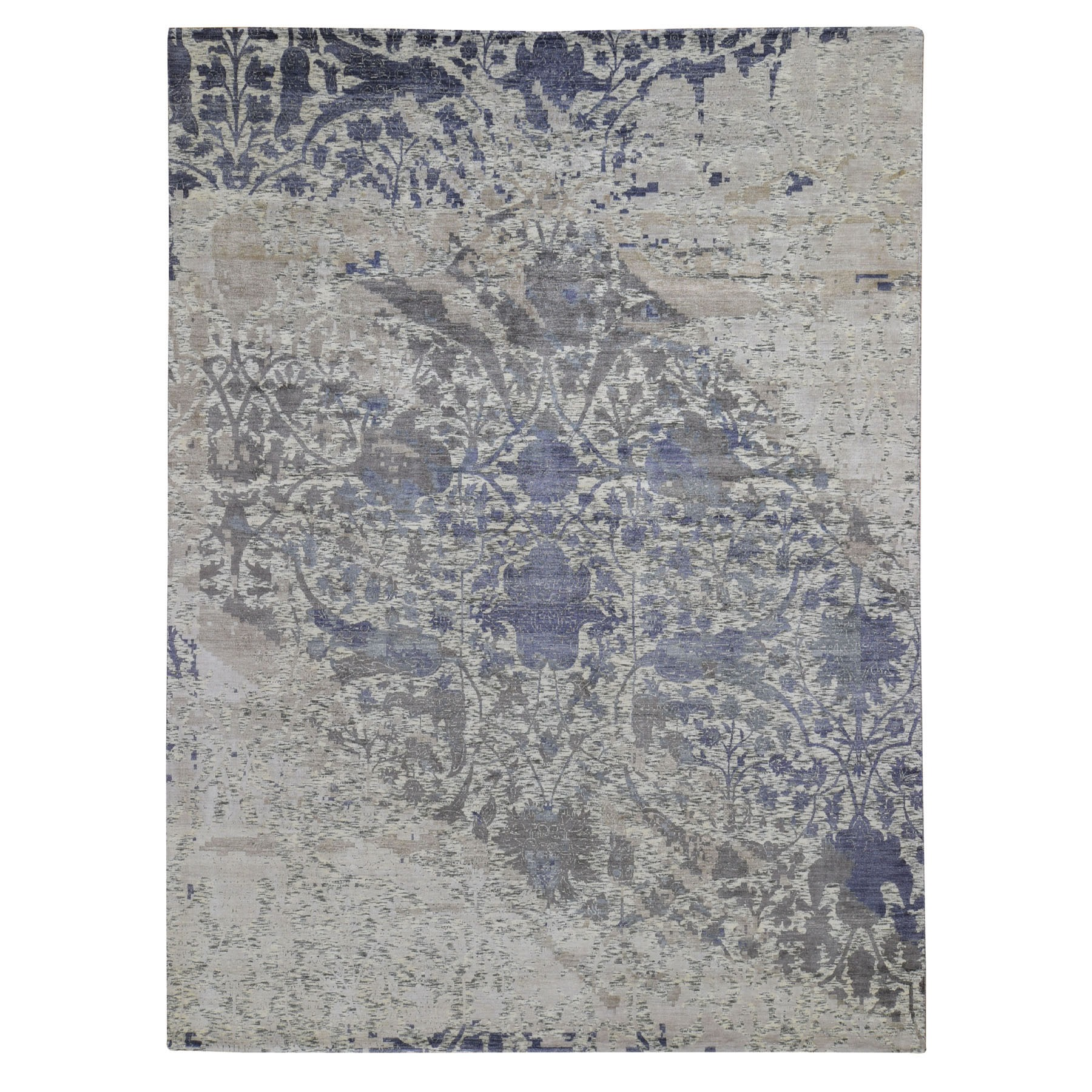 "9'x11'10"" Purple Silk With Textured Wool Erased Mughal Design Hand Knotted Oriental Rug"